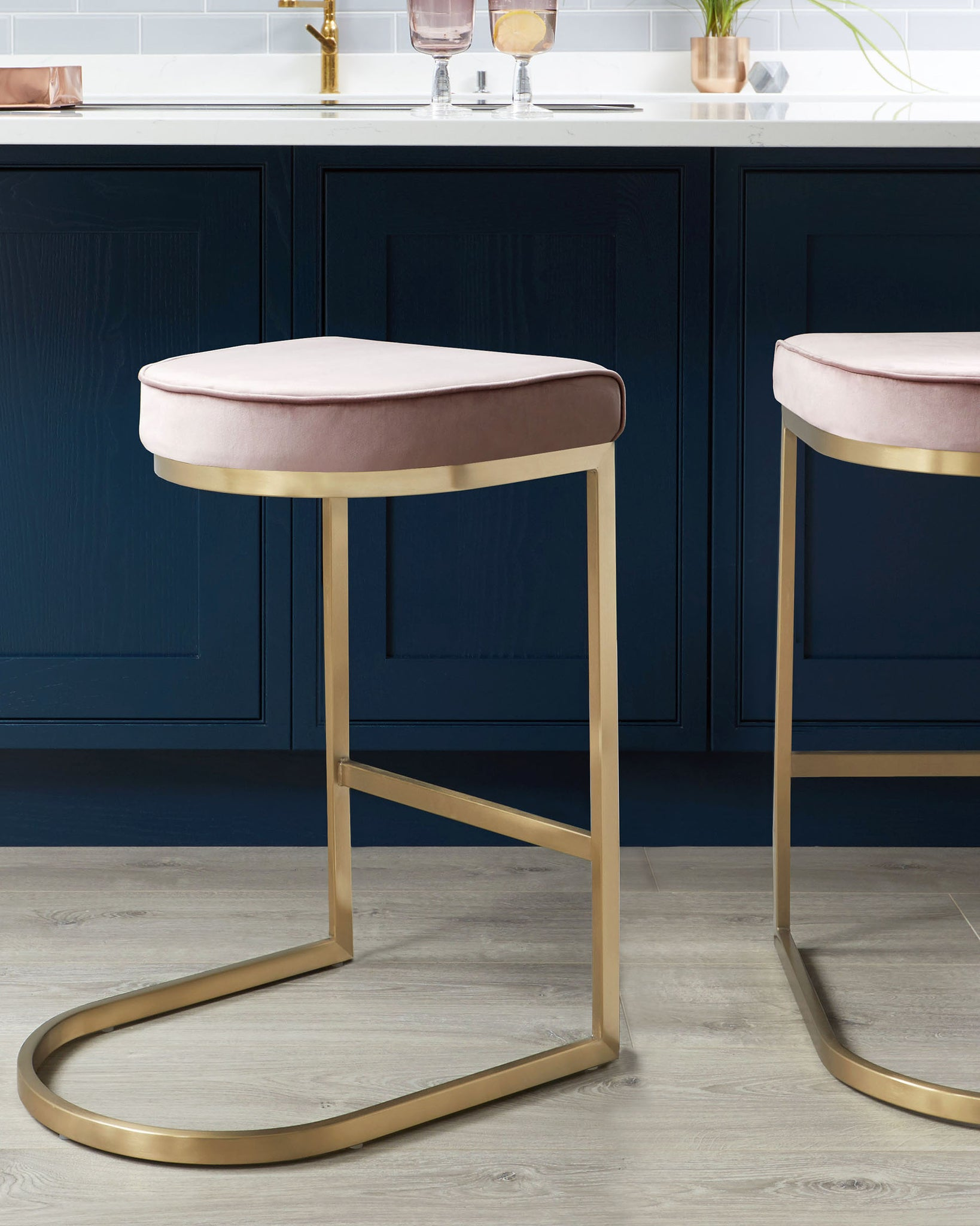 Form Blush Pink Velvet & Brass Bar Stool - Set Of 2