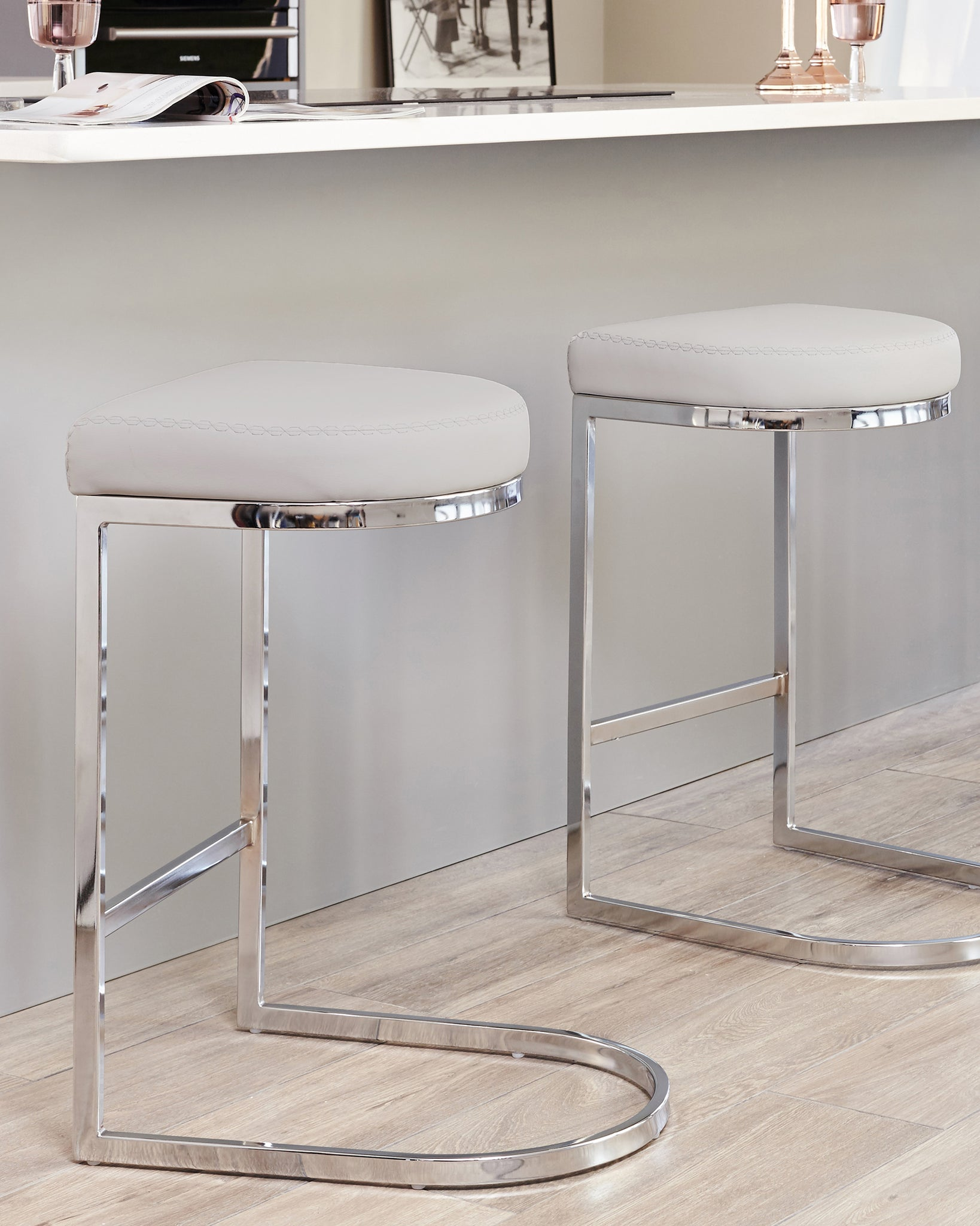 Form Light Grey Faux Leather Bar Stool - Set Of 2