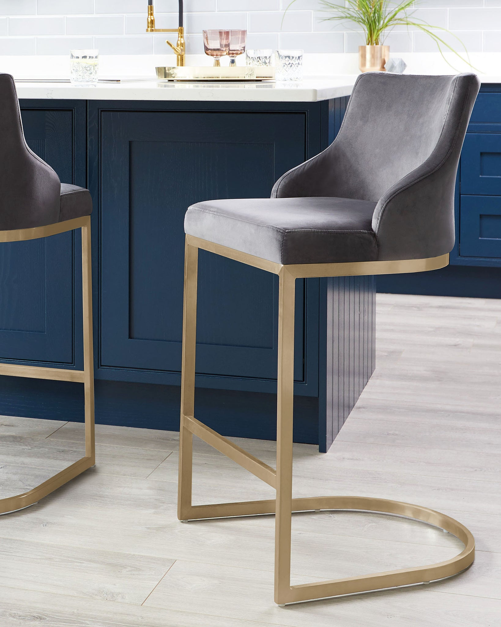 Form Dark Grey Velvet & Brass Bar Stool With Backrest - Set Of 2