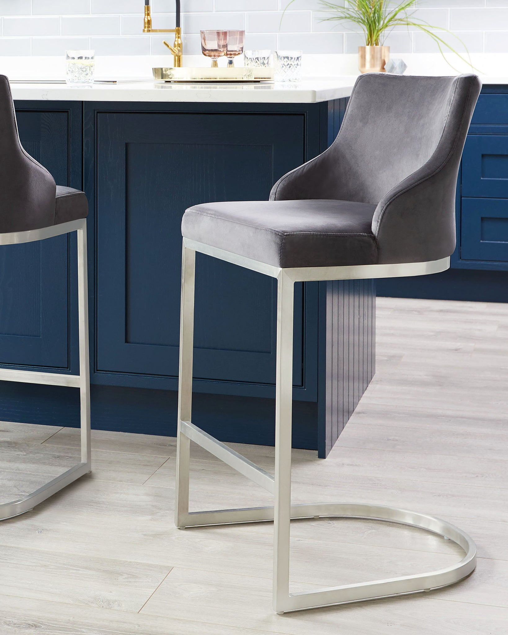 Form Dark Grey Velvet And Brushed Steel Bar Stool With Backrest - Set Of 2