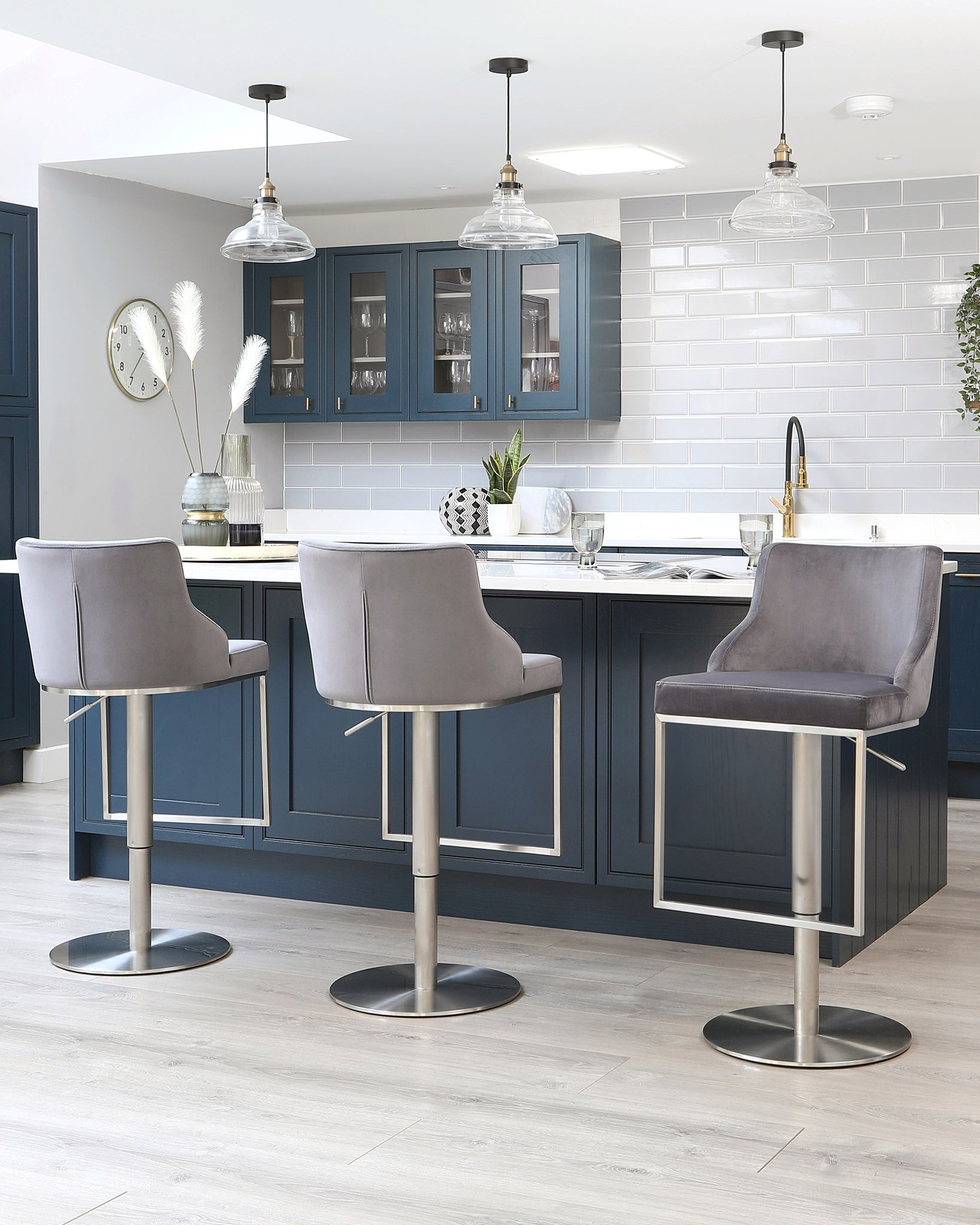 Form Dark Grey Velvet Gas Lift Bar Stool