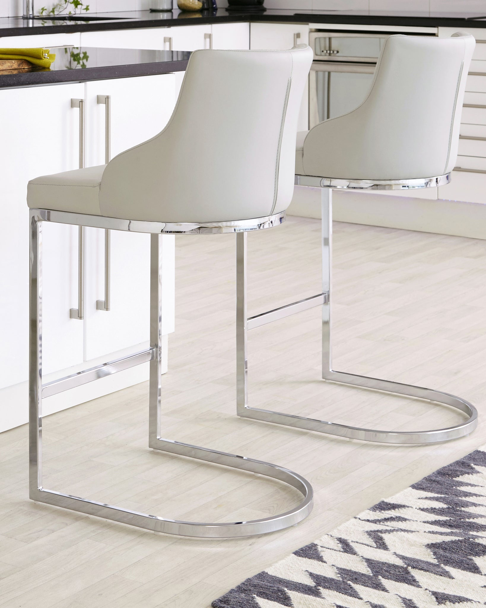 Form Light Grey & Chrome Bar Stool With Backrest - Set Of 2
