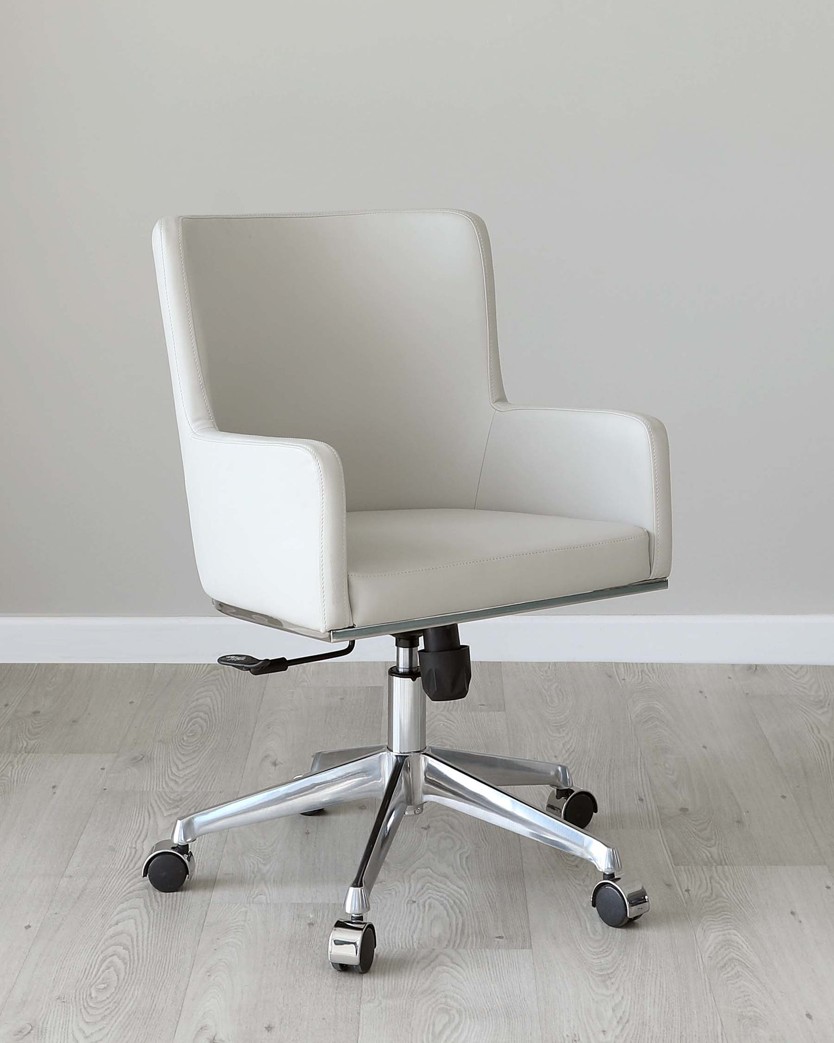 Form Light Grey Faux Leather Office Chair with Armrest
