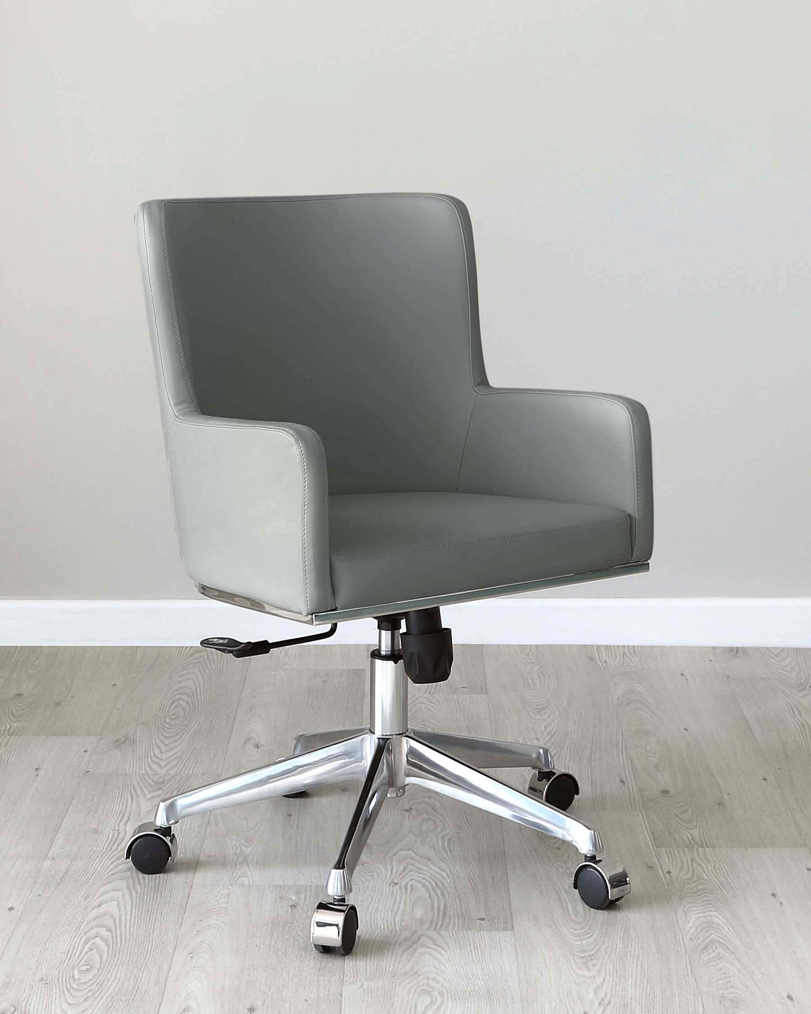 Form Mid Grey Faux Leather Office Chair with Armrest