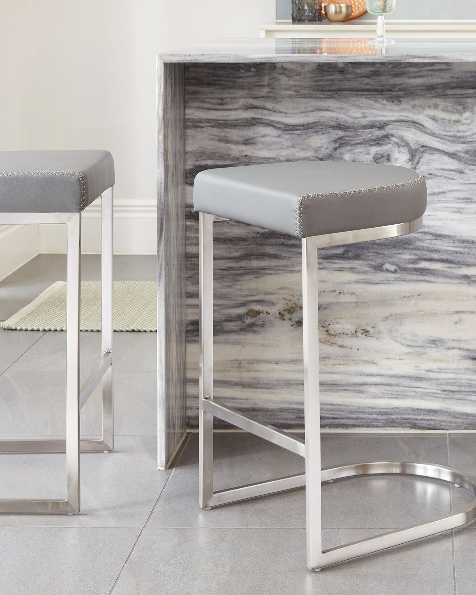 Form Grey & Stainless Steel Bar Stool - Set Of 2