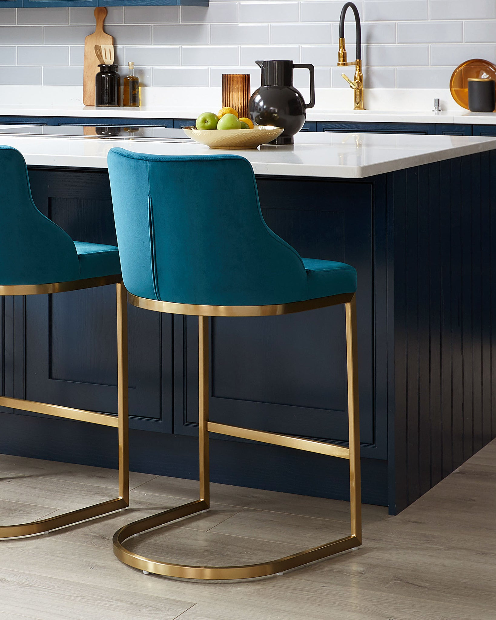 Form Dark Teal Velvet And Brass Bar Stool With Backrest - Set Of 2