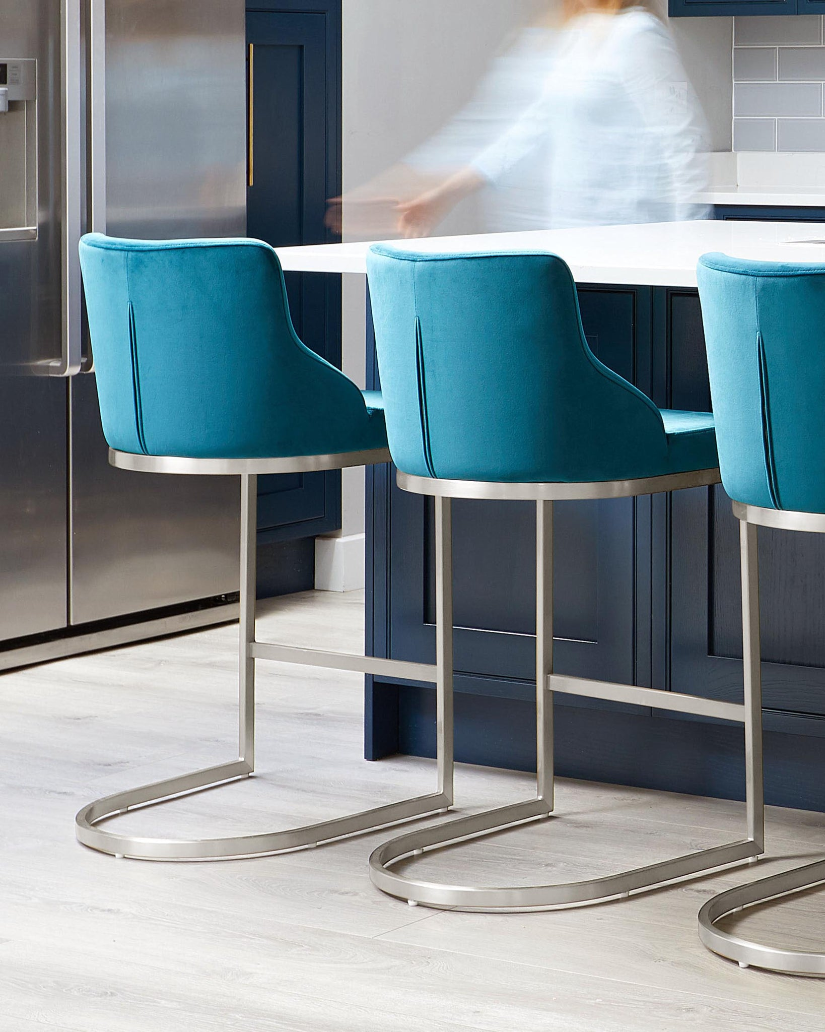 Form Dark Teal Velvet And Brushed Steel Bar Stool With Backrest - Set Of 2