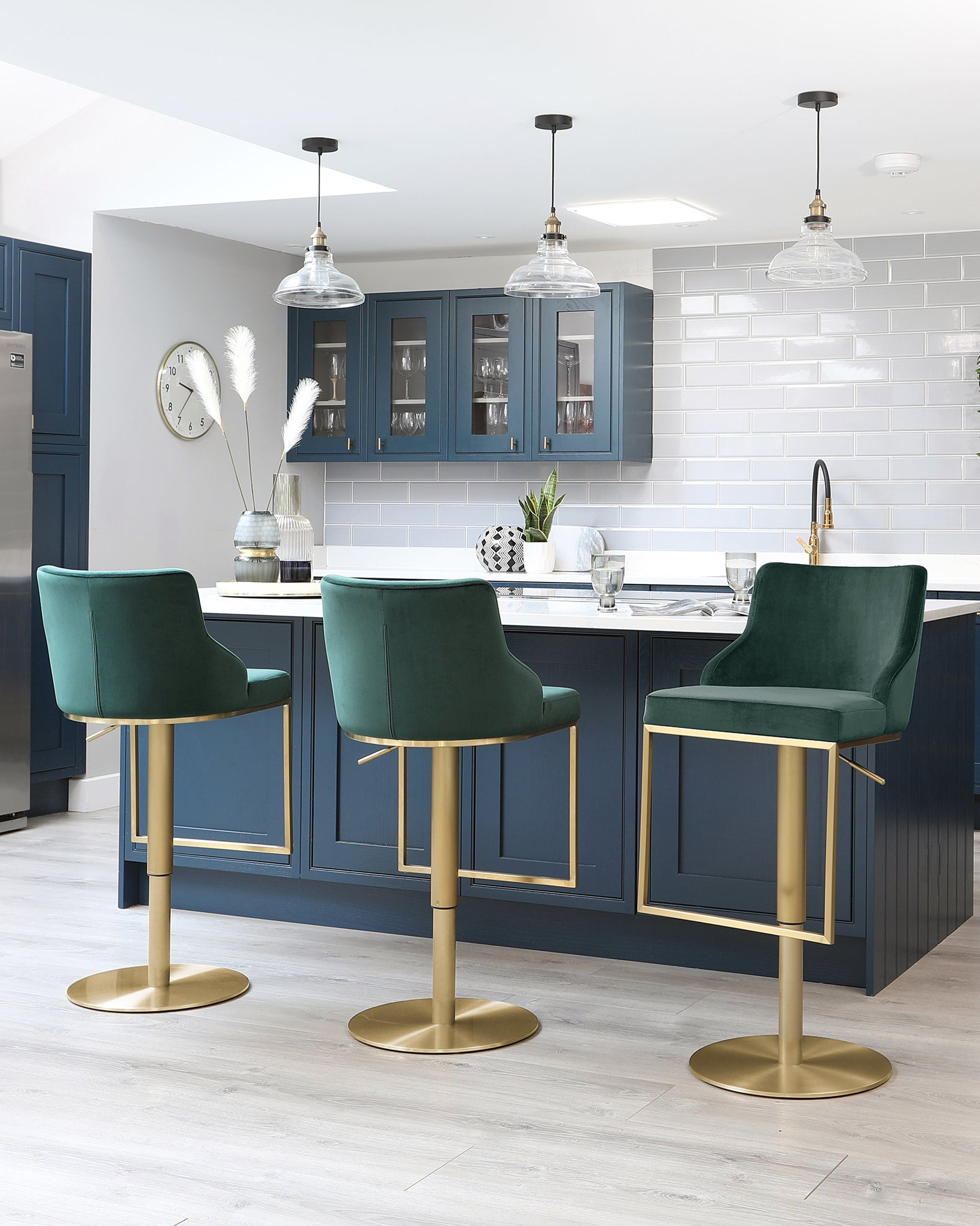 Form Dark Green Velvet And Brass Gas Lift Bar Stool