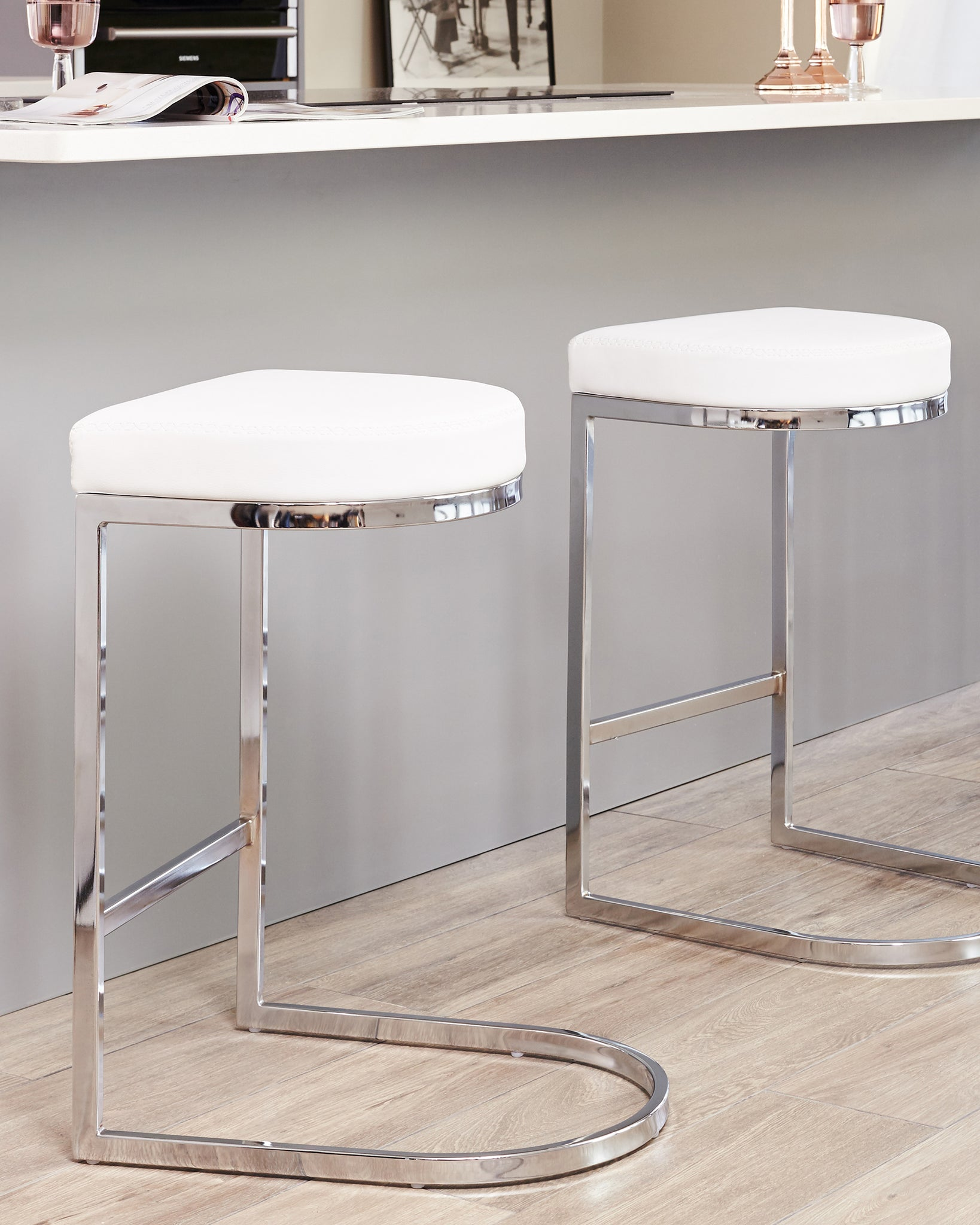 Form White Faux Leather Bar Stool - Set Of 2