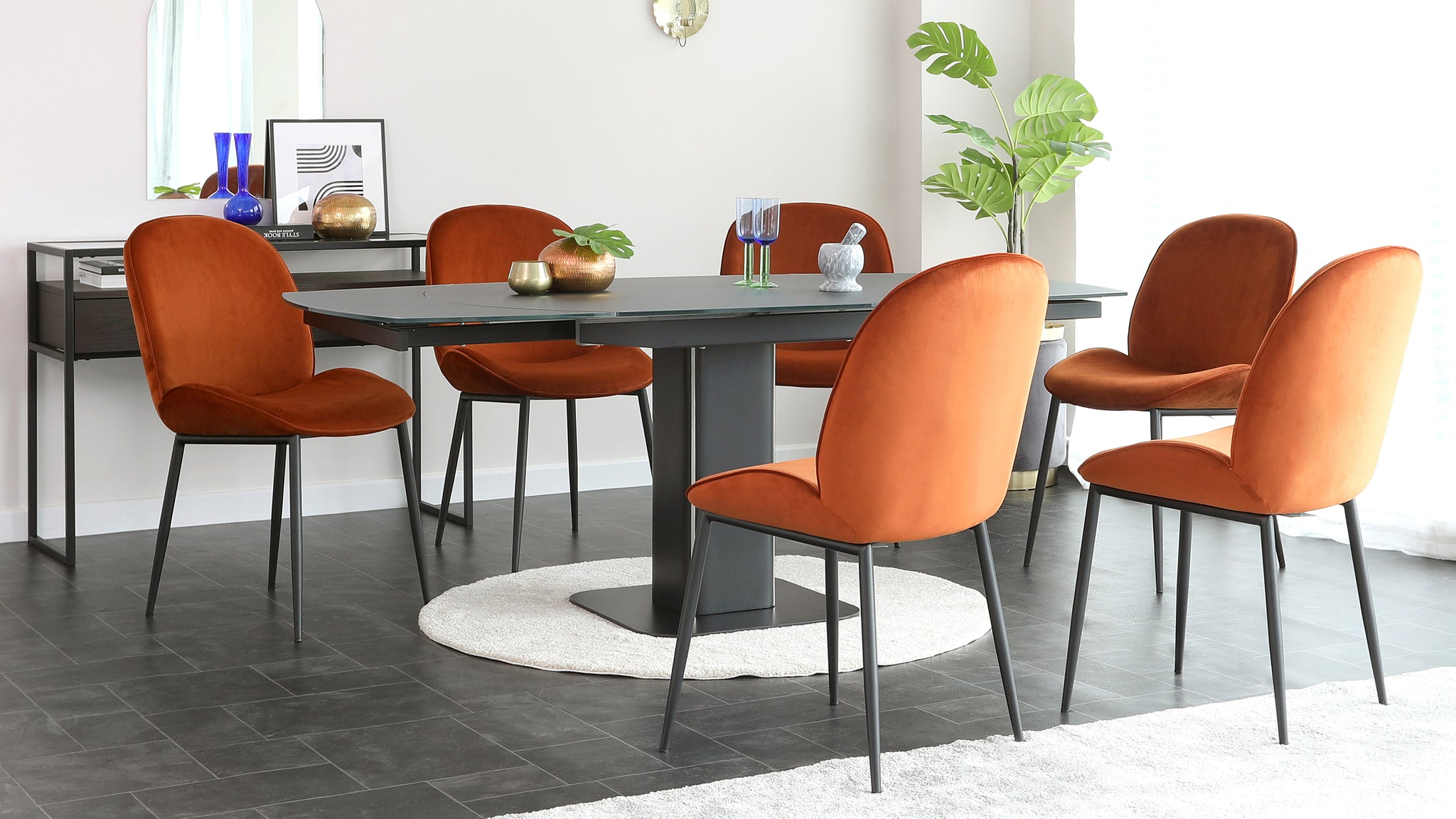 Fraser Extending Glass Table And Clara Velvet Chair Set