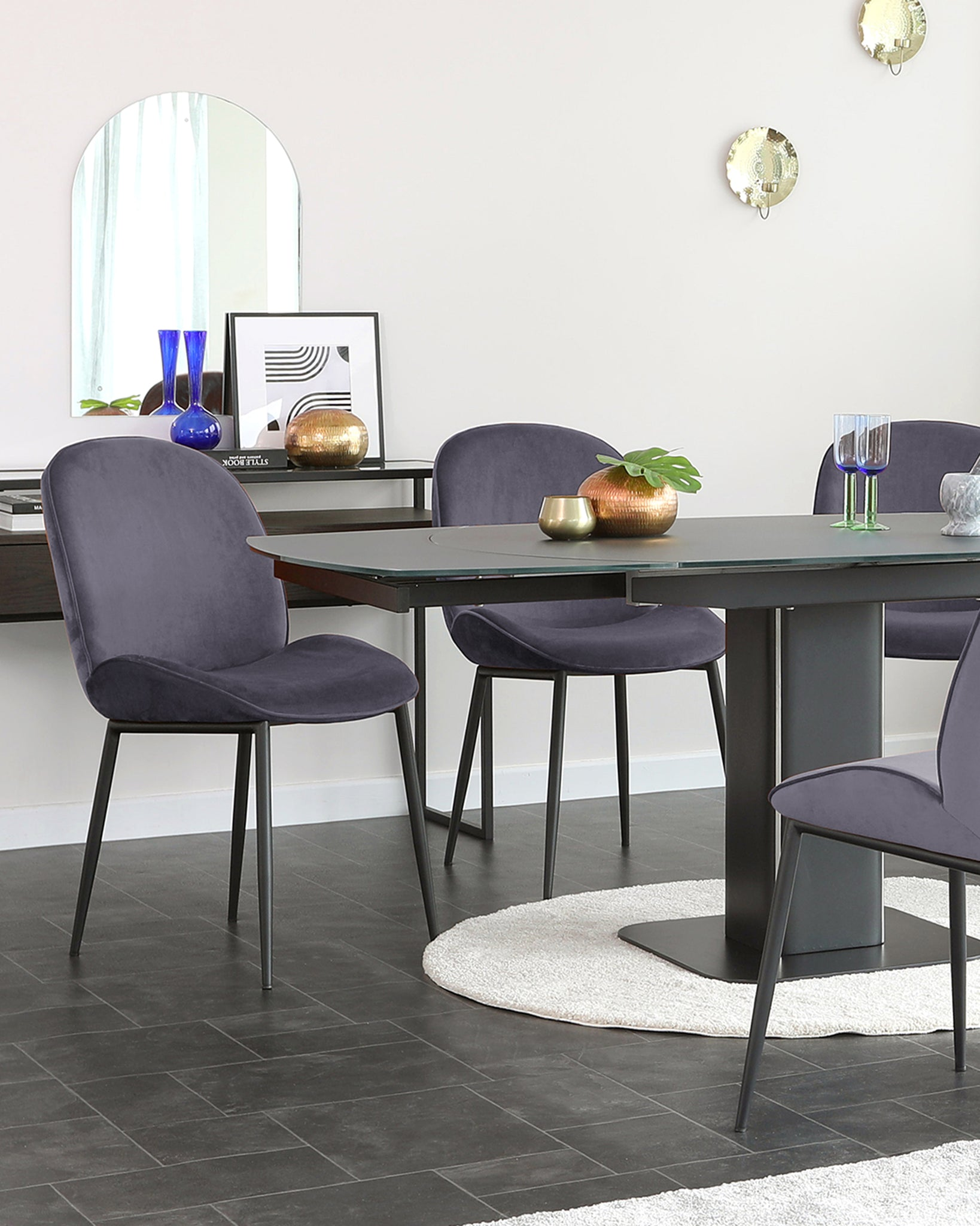 Clara Dark Grey Velvet Dining Chair - Set Of 2