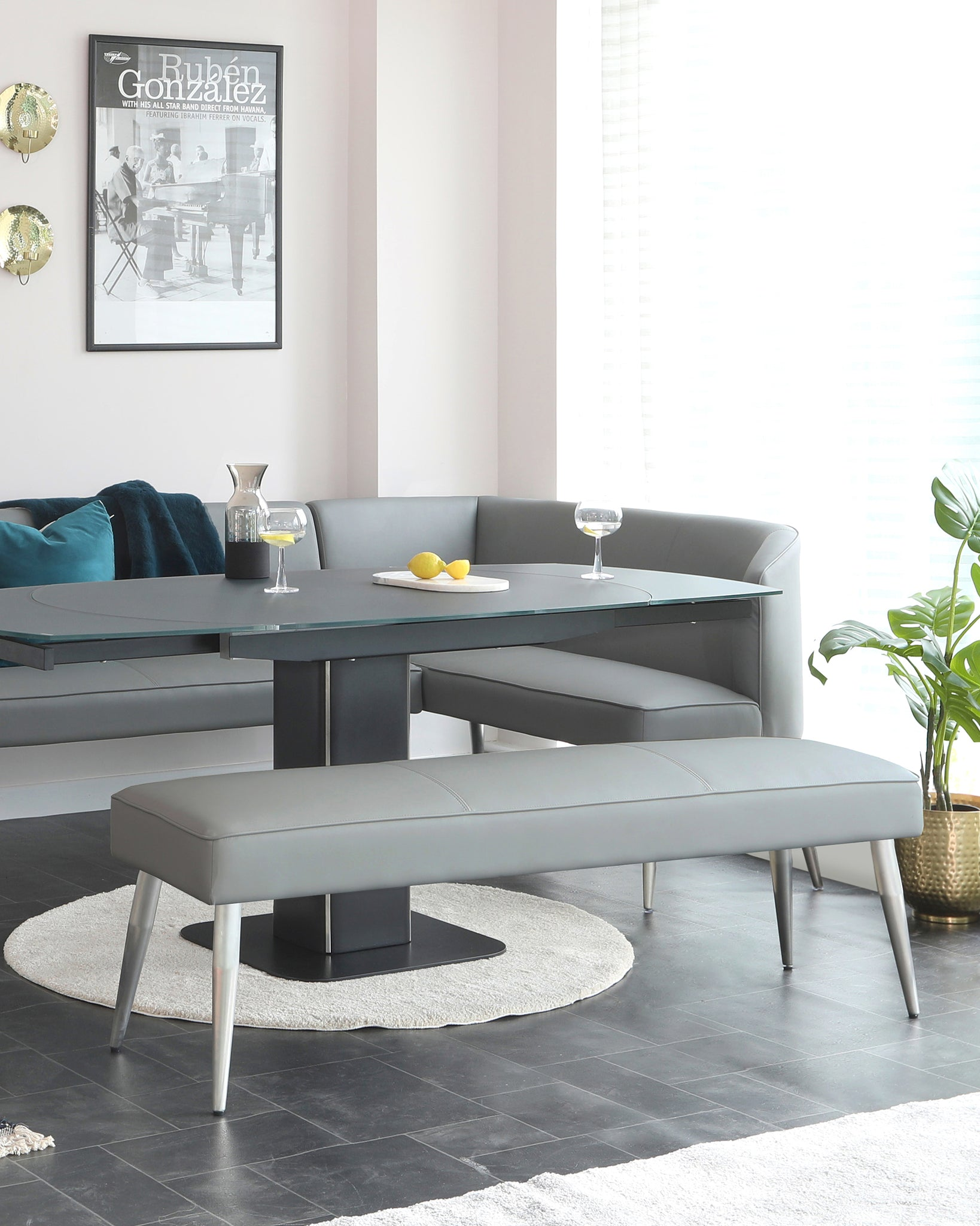 Mellow Grey Faux Leather And Stainless Steel 3 Seater Without Backrest Dining Bench