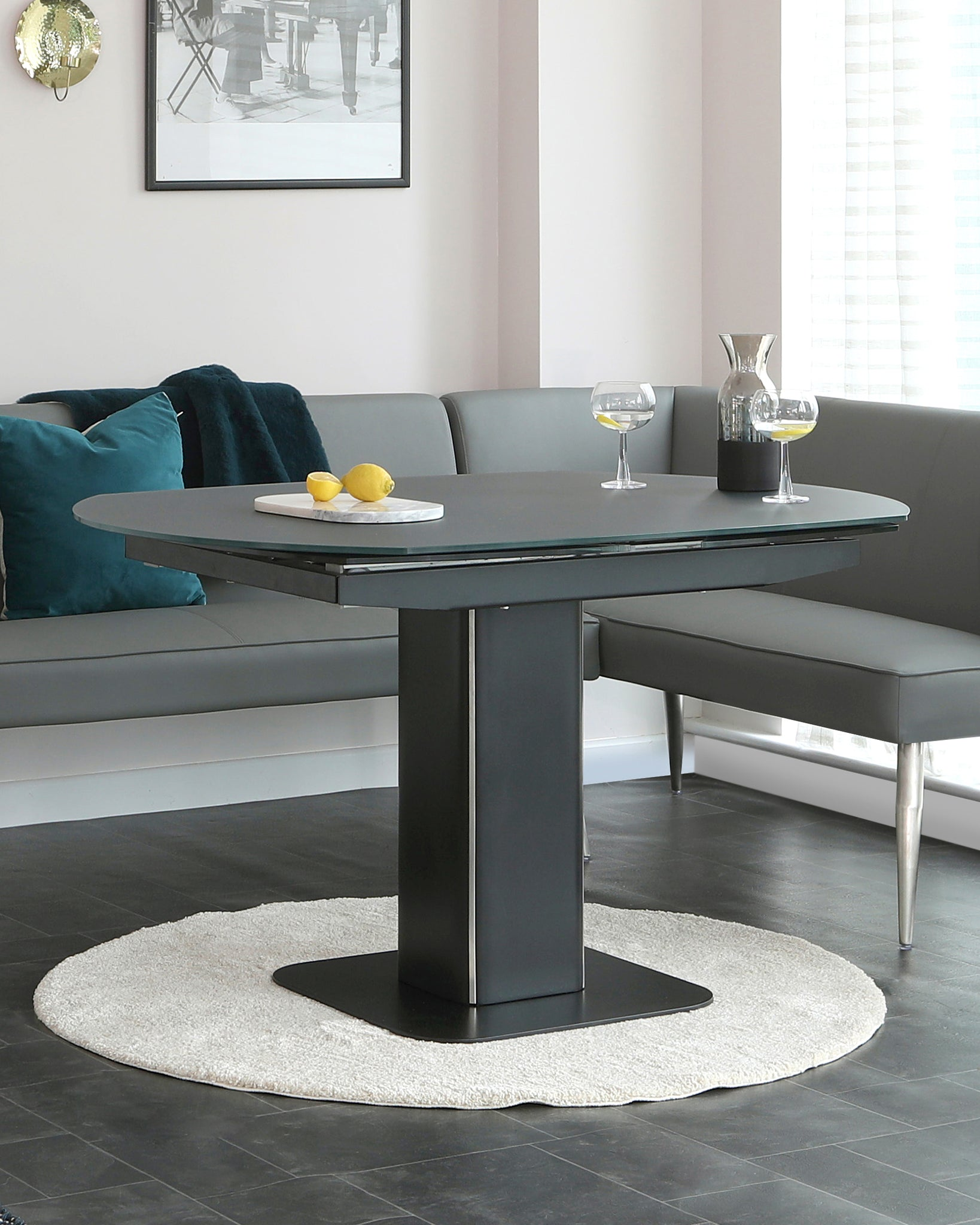 Fraser Dark Grey Frosted Glass Extending Dining Table