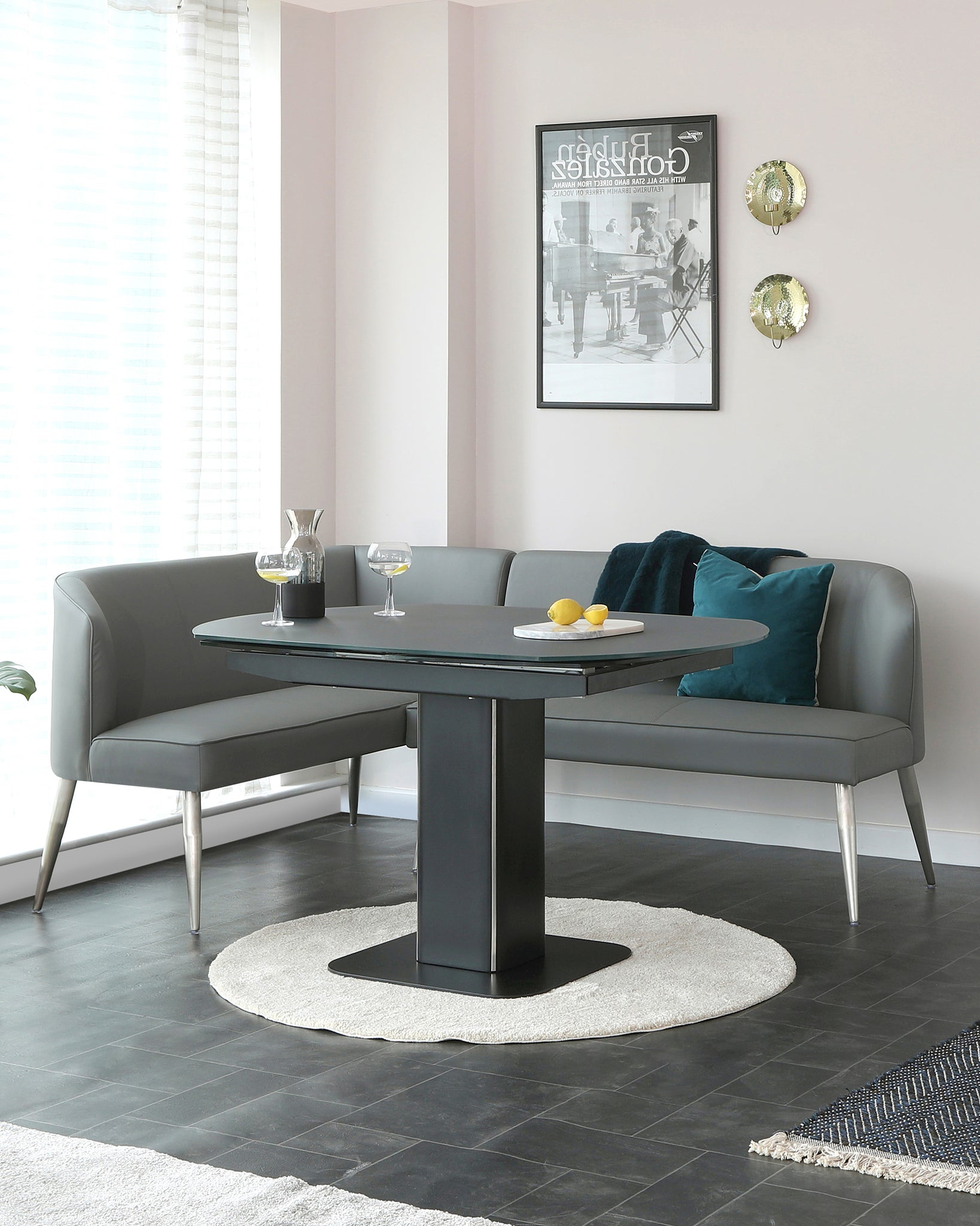 Fraser Extending Table With Mellow Right Hand Corner Bench Set