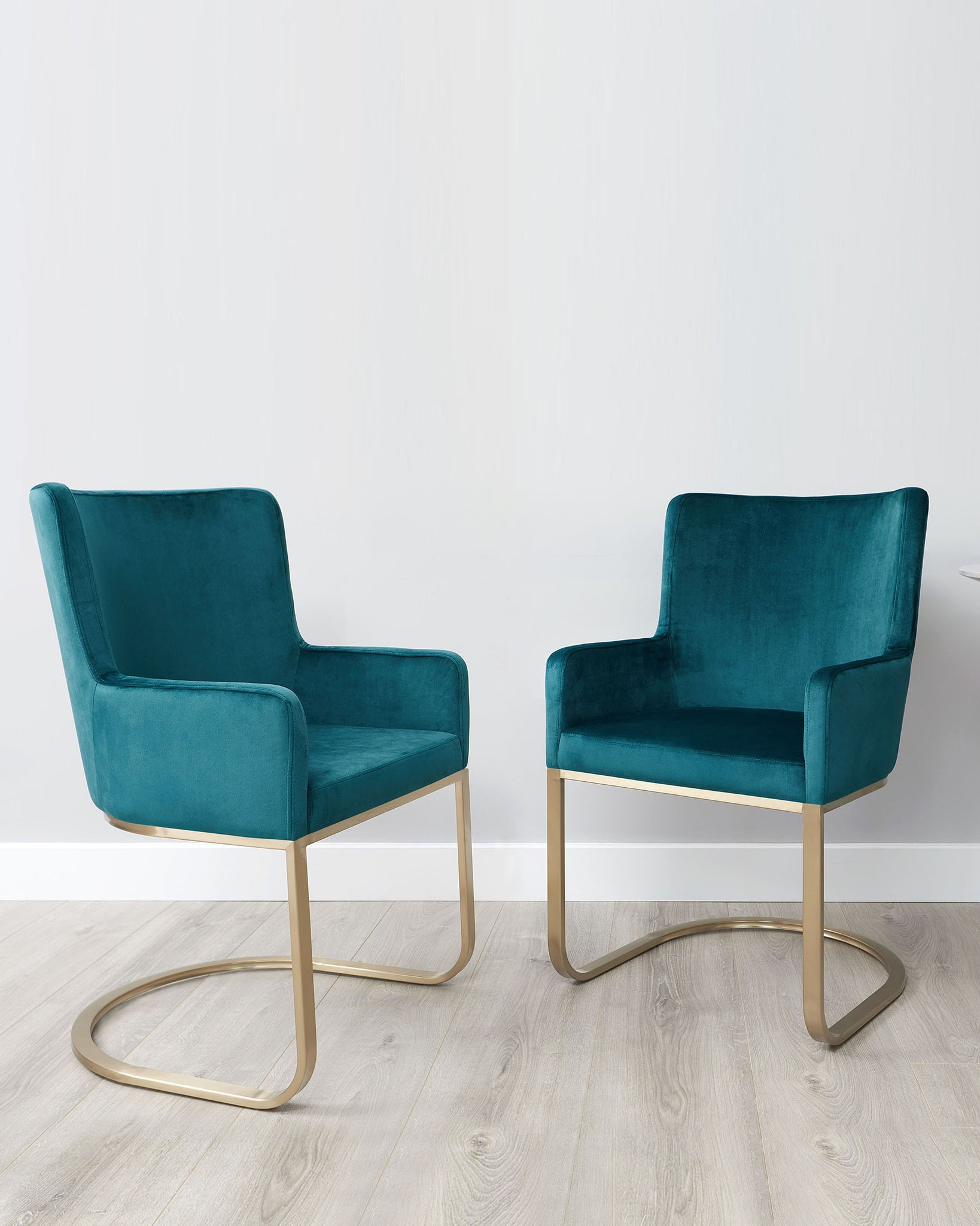 Form Dark Teal Velvet And Brass Cantilever Dining Armchair - Set Of 2