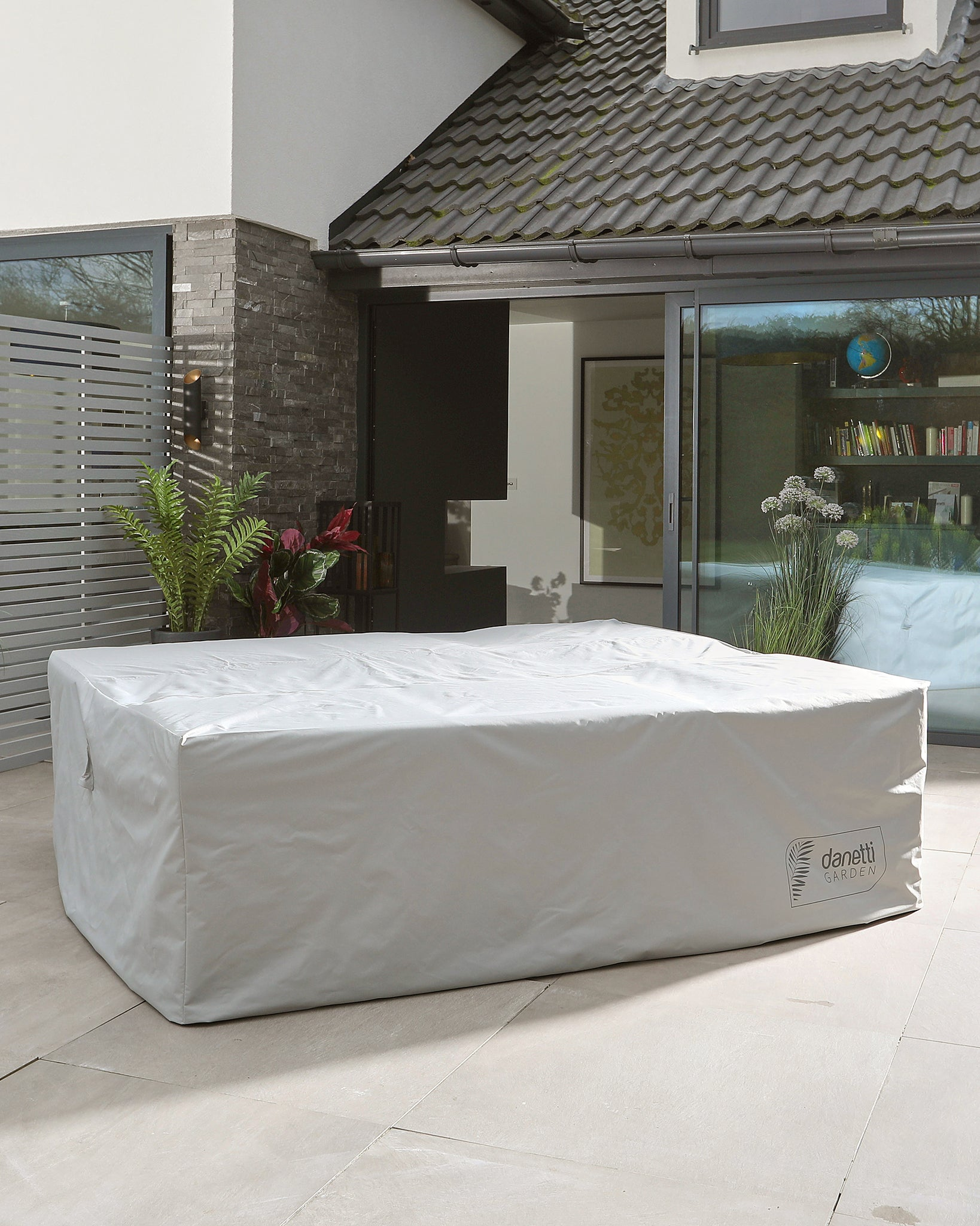 Grey Polyester Garden Lounger Furniture Cover