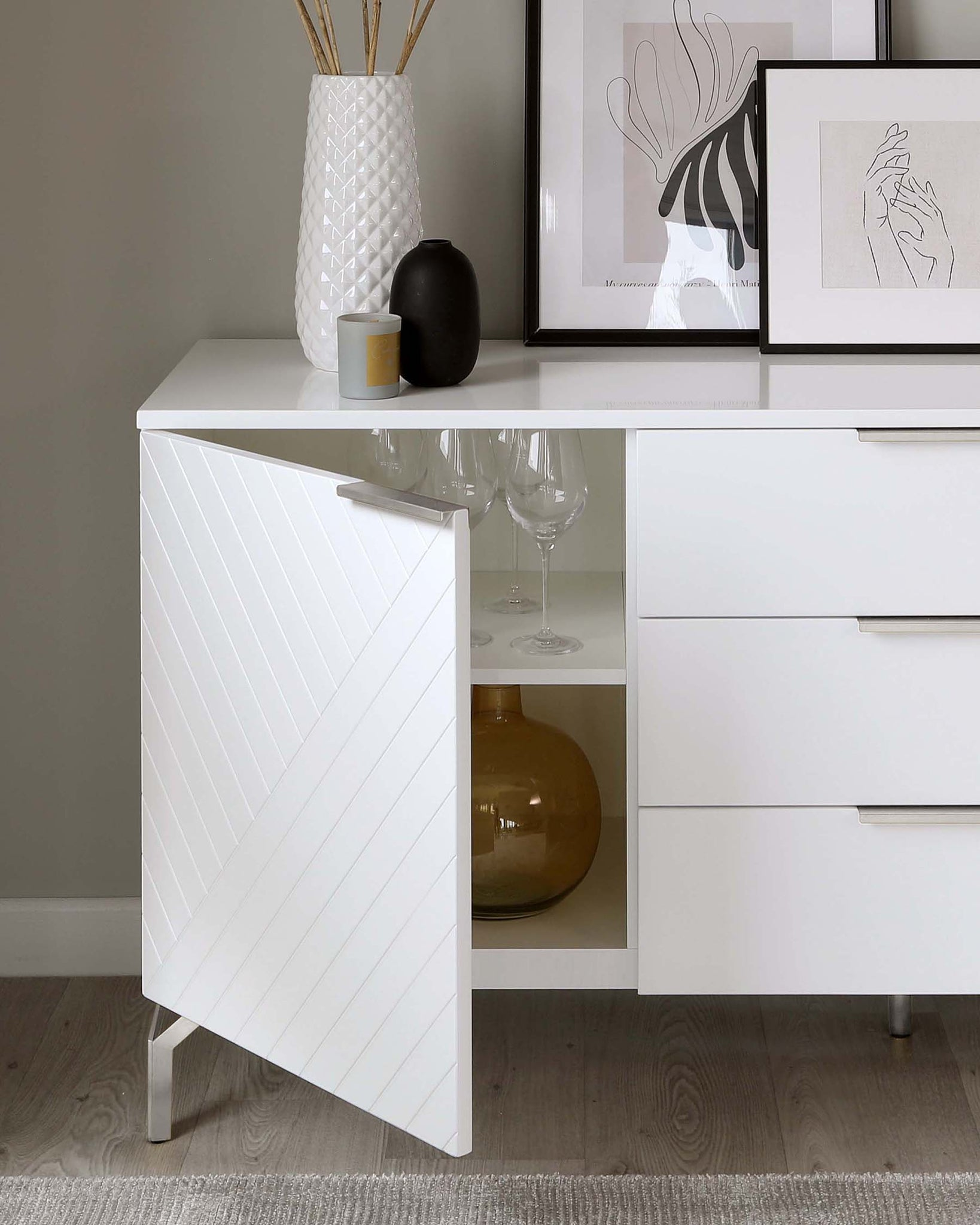 Geo Large Matt White and Stainless Steel Textured Sideboard
