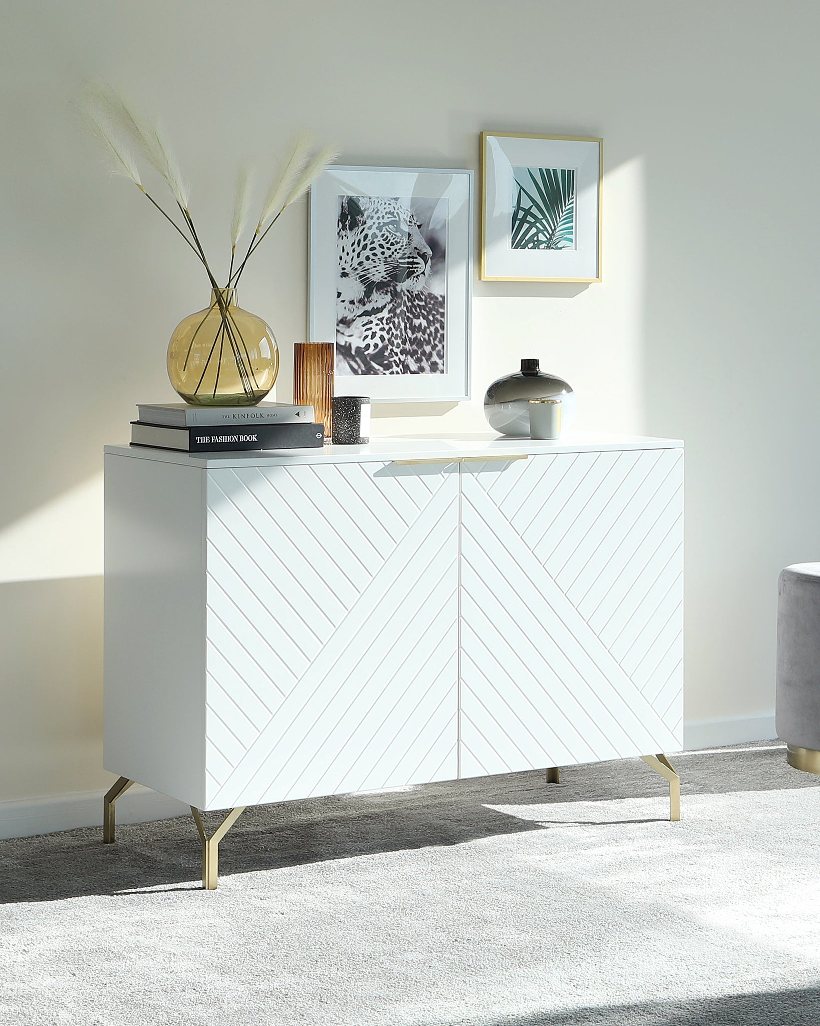 Geo Matt White And Brass Textured Sideboard
