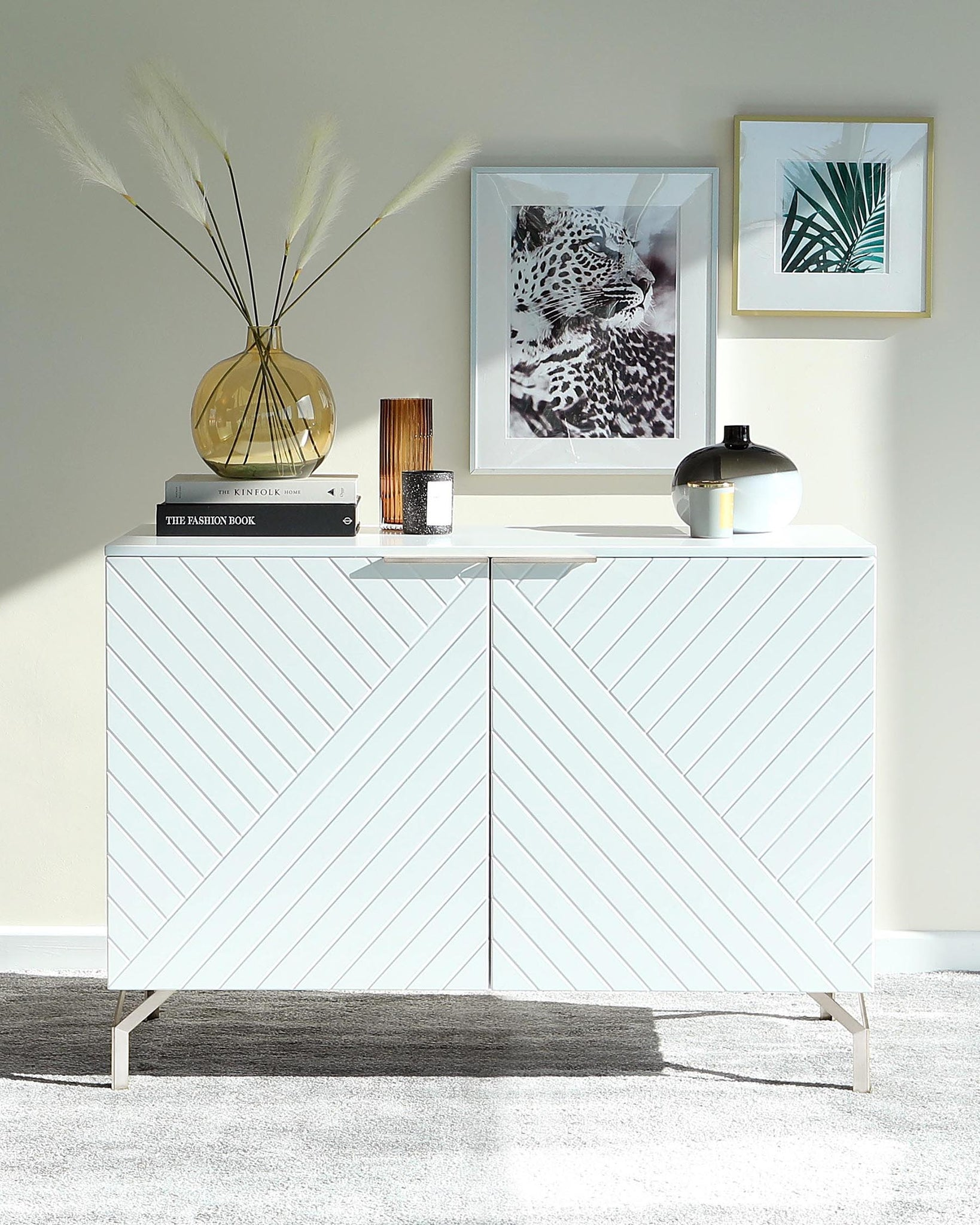Geo Matt White And Stainless Steel Textured Sideboard