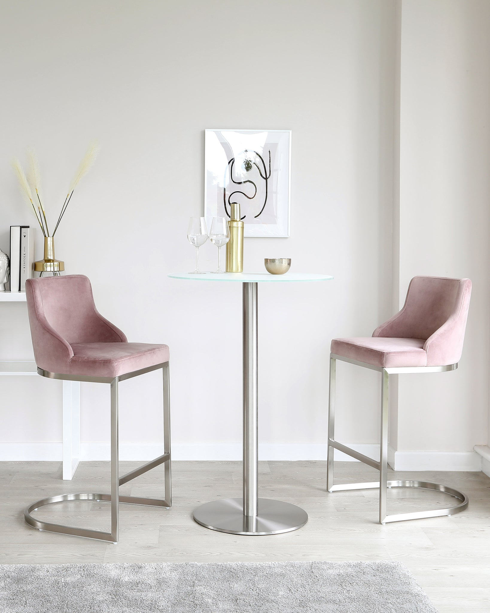 Grande Glass Bar Table Set With Form Blush Pink Stools