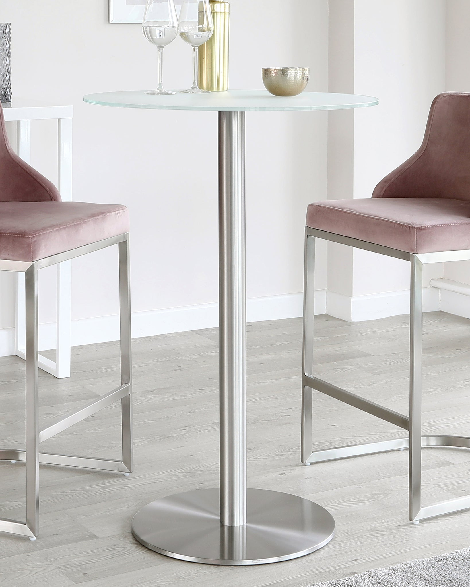 Grande Frosted Glass And Brushed Stainless Steel Bar Table