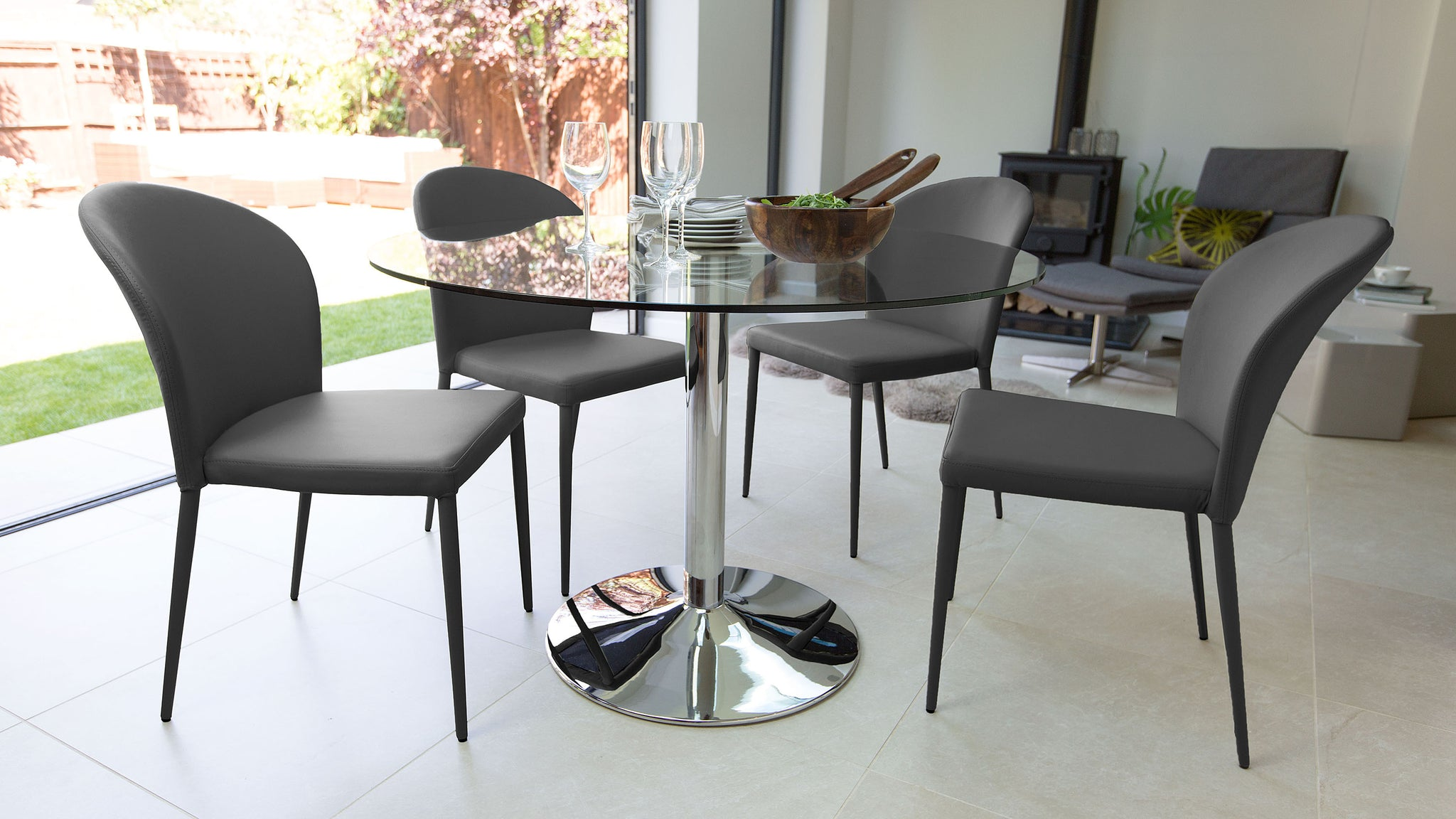 Naro Glass And Santo Stackable 4 Seater Dining Set