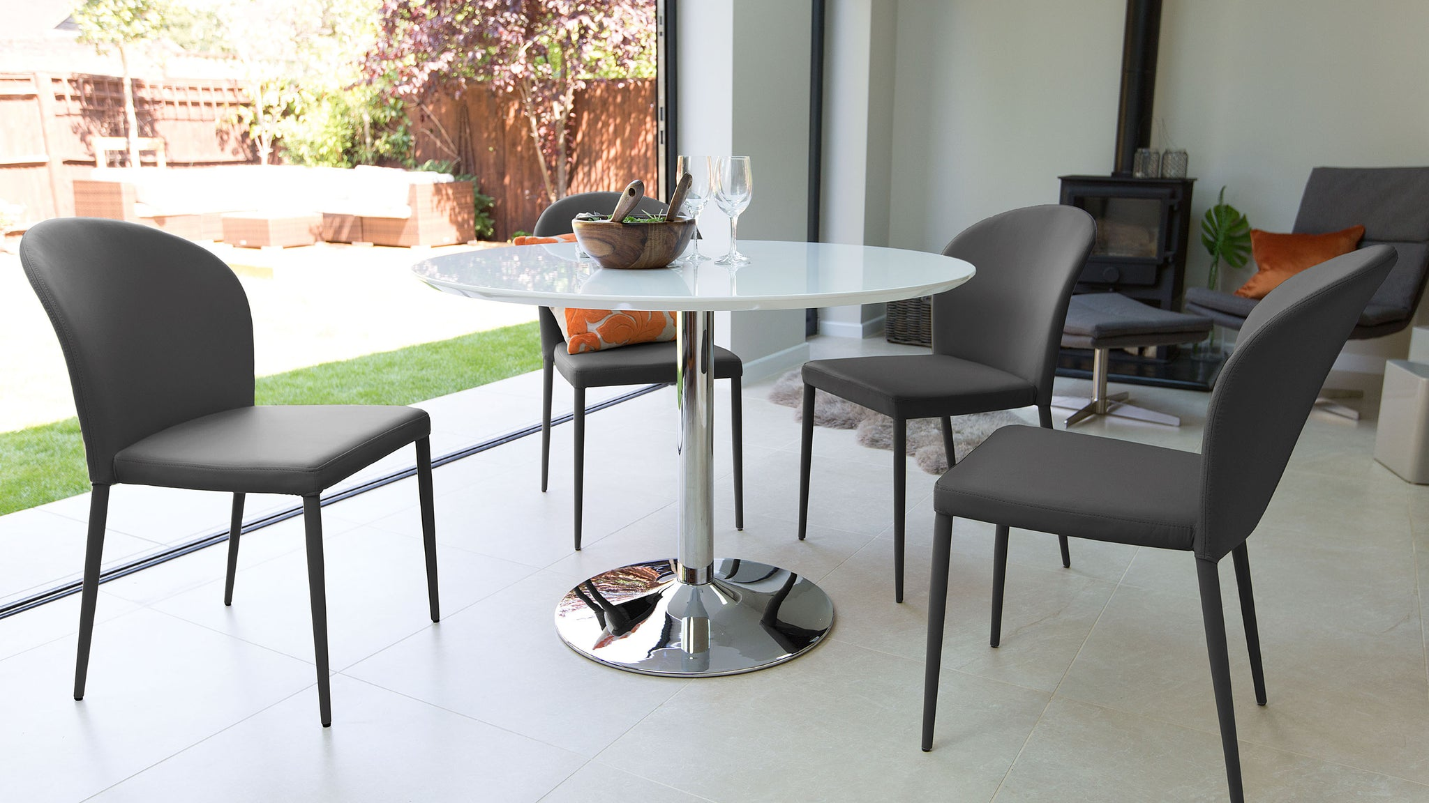 Naro White Gloss And Santo Stackable 4 Seater Dining Set