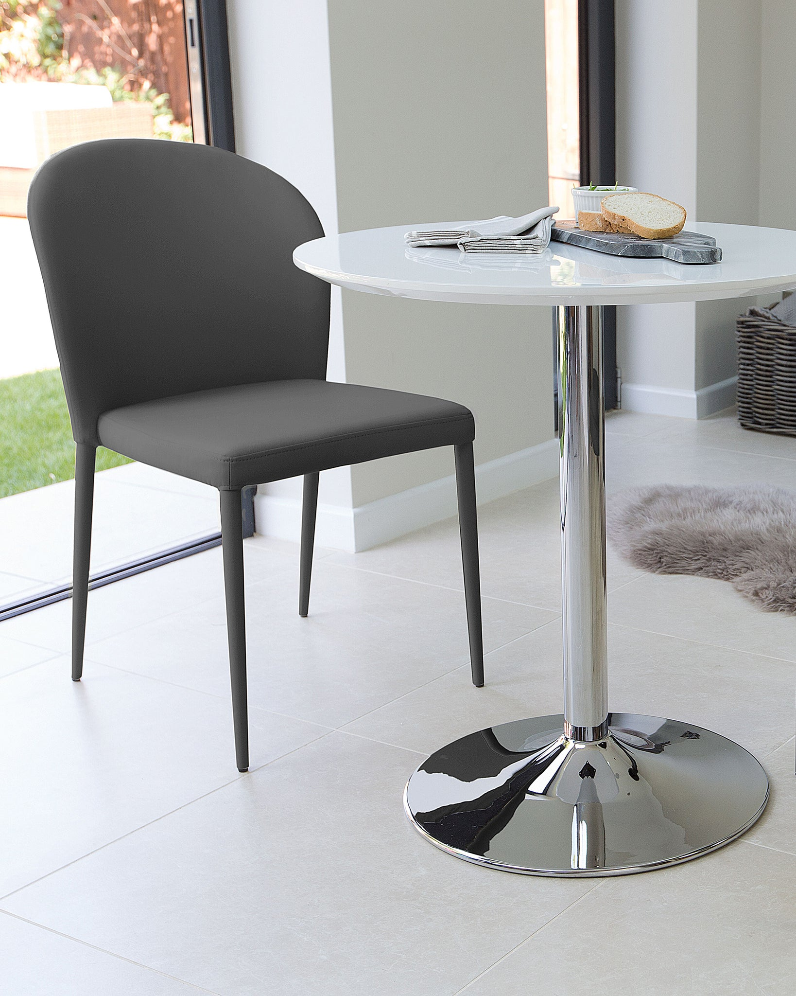 Naro White Gloss And Santo Stackable 2 Seater Dining Set