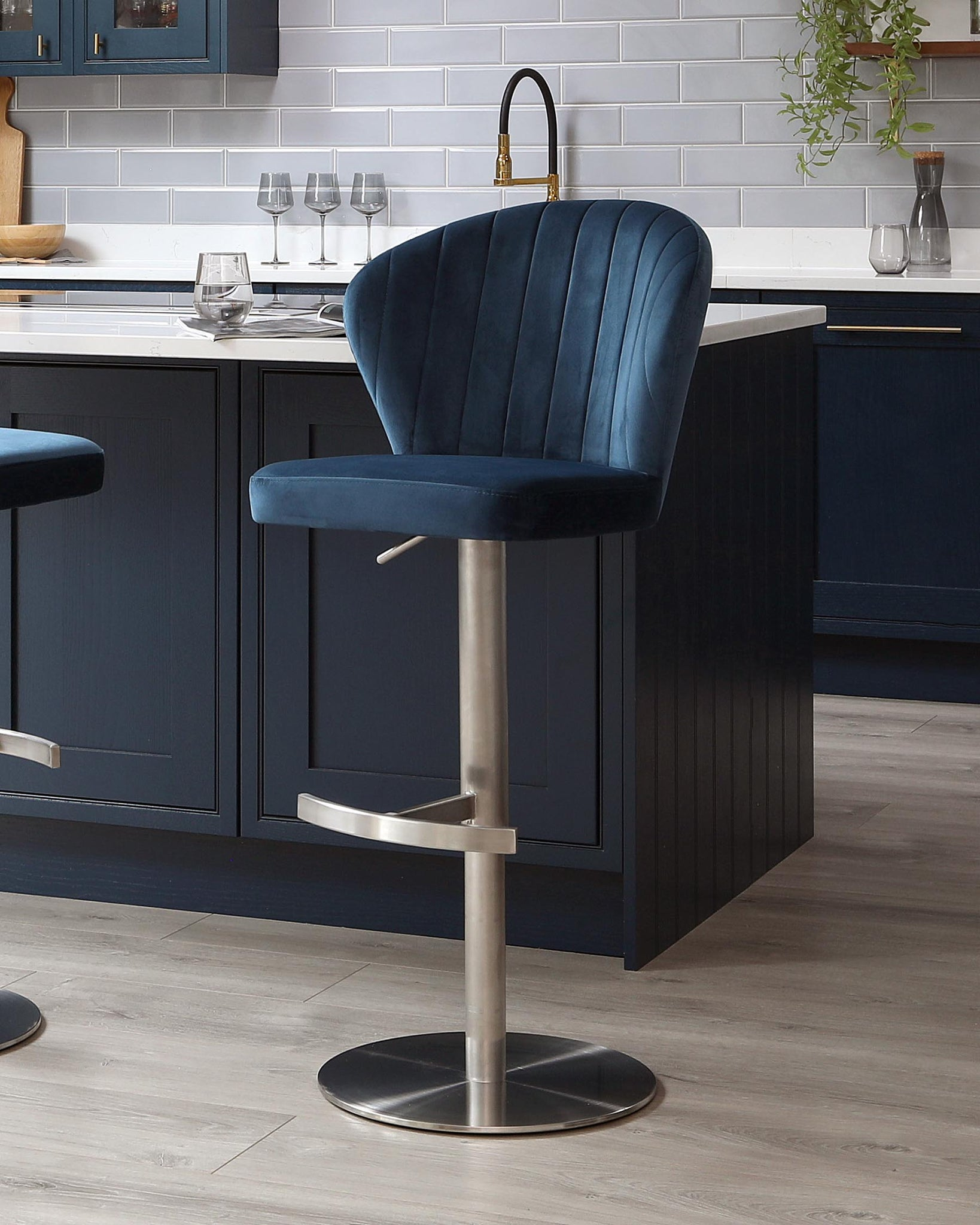 Harper Dark Blue Velvet Gas Lift Bar Stool