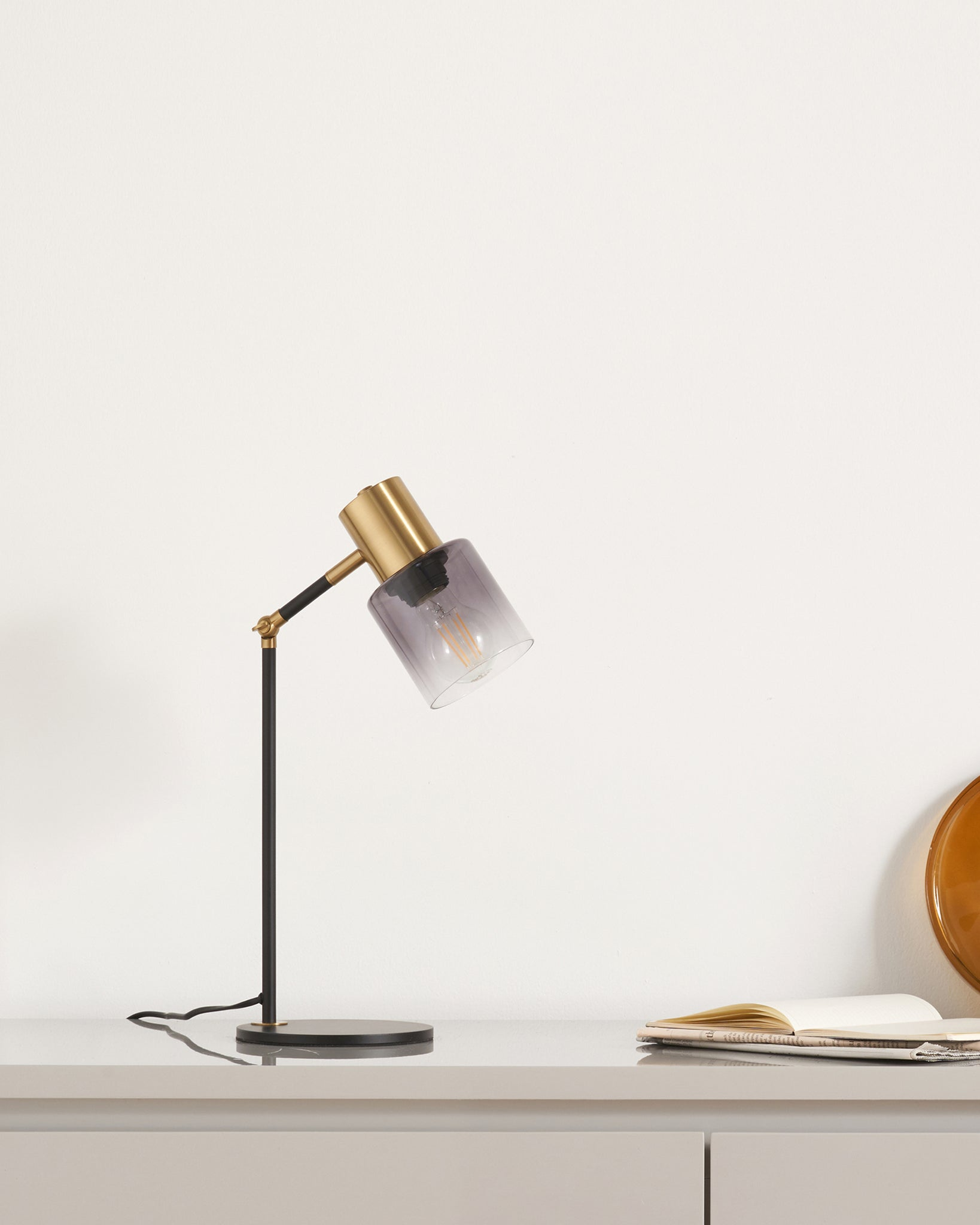 Haze Matt Black Glass And Brass Table Lamp