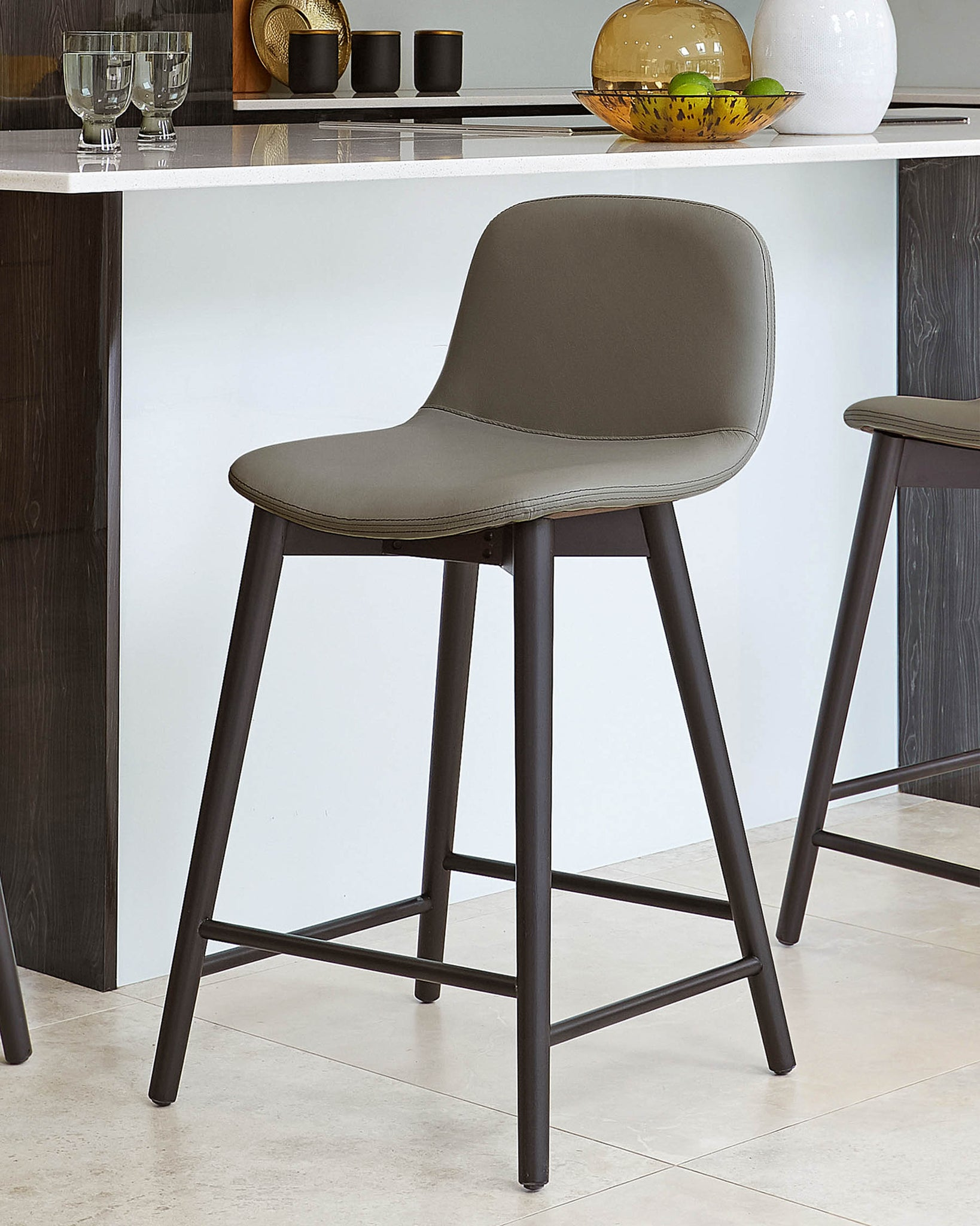 Hudson Dark Grey Leather Bar Stool