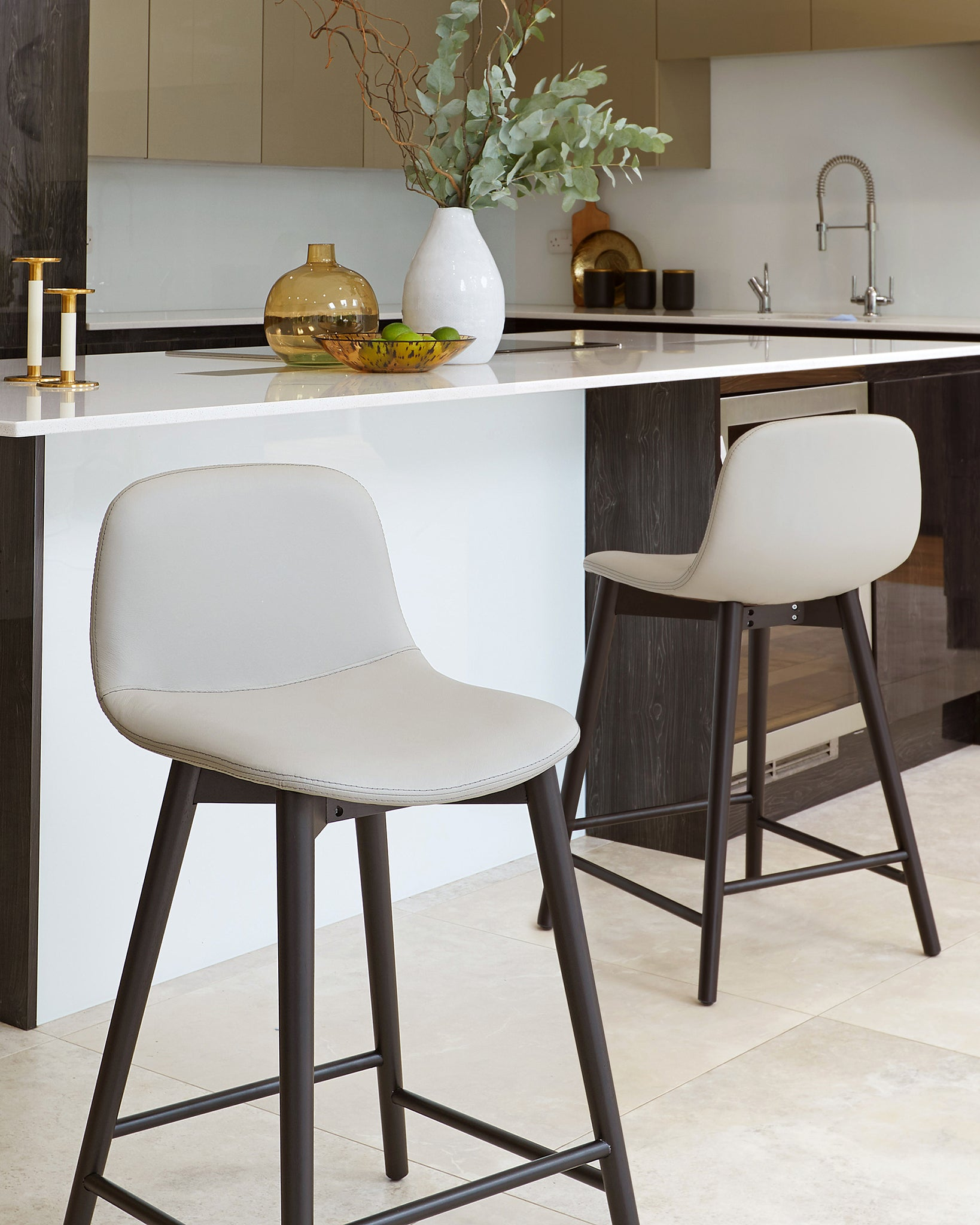 Hudson Light Grey Leather Bar Stool