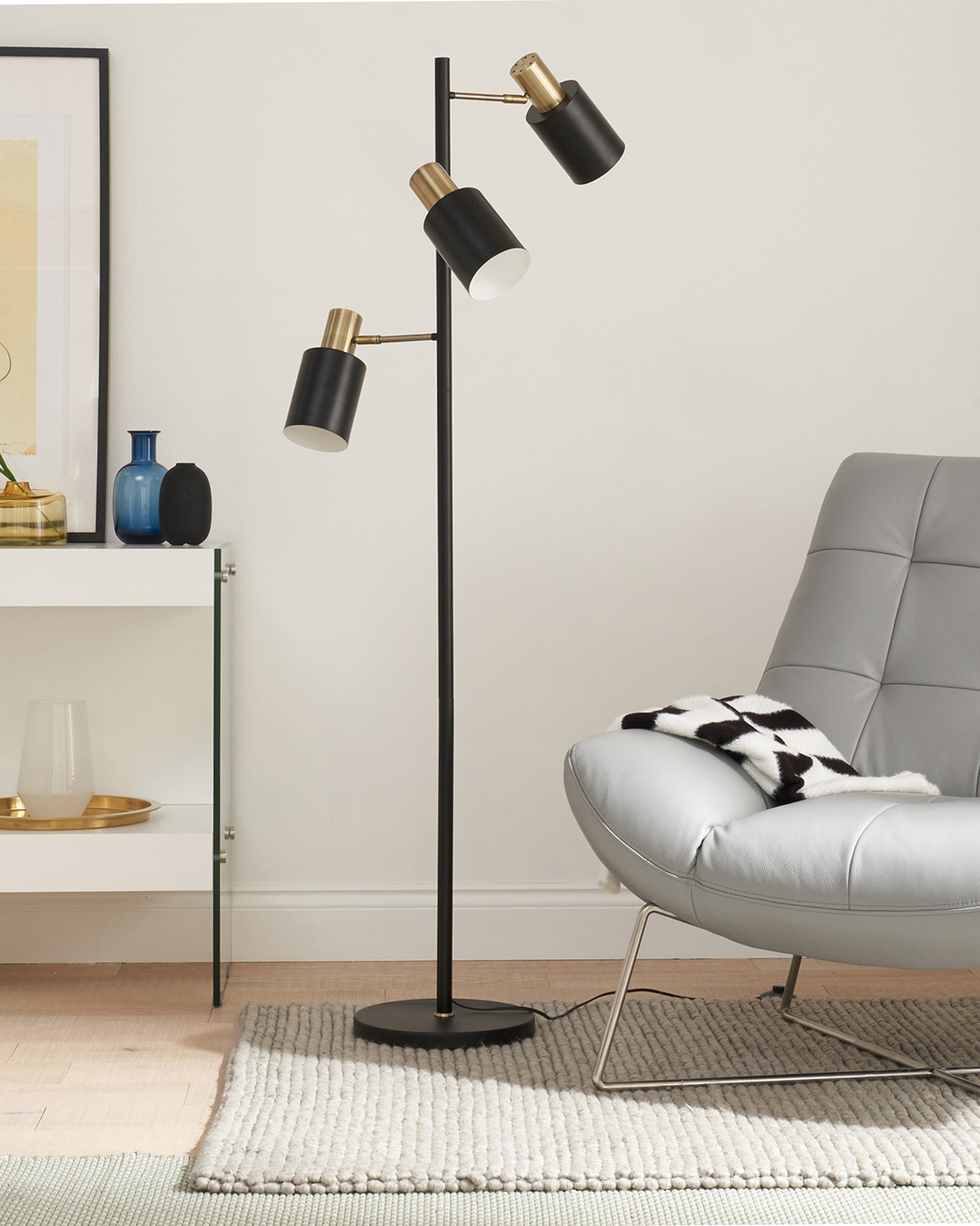 Hugo Black And Brass Floor Lamp