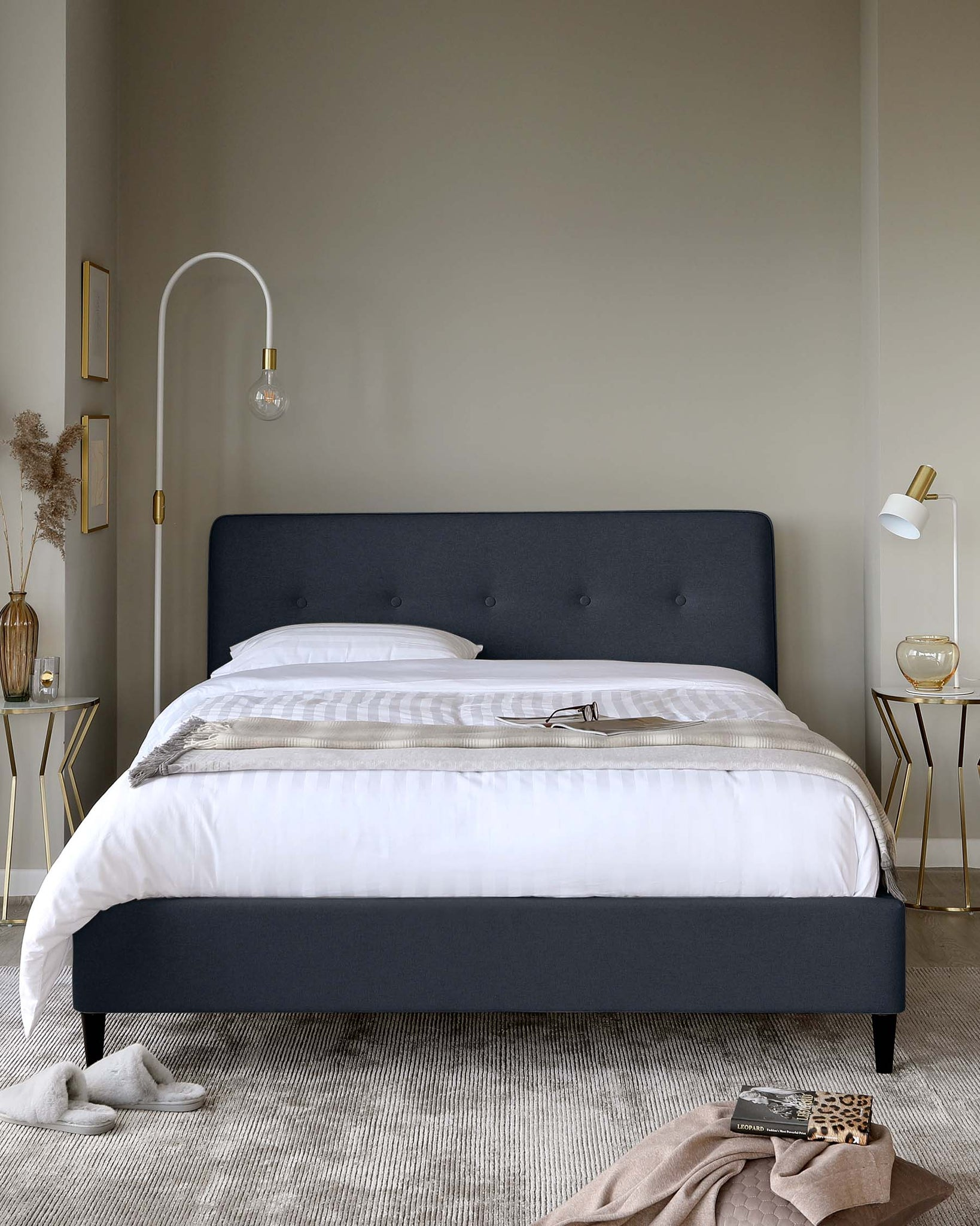 Huxley Blue Fabric Double Bed