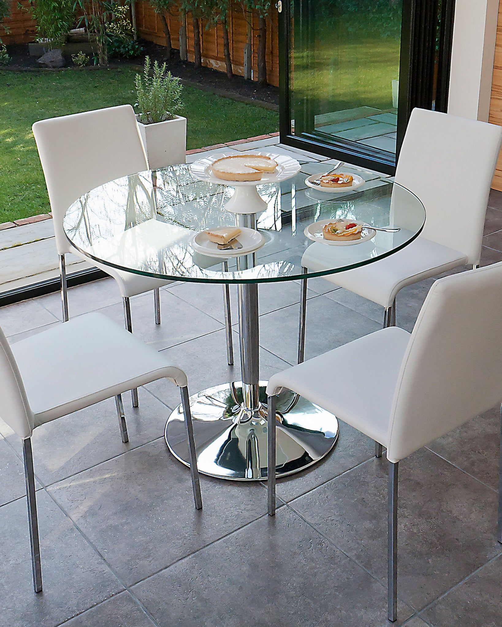 Naro Clear Glass And Tori 4 Seater Dining Set