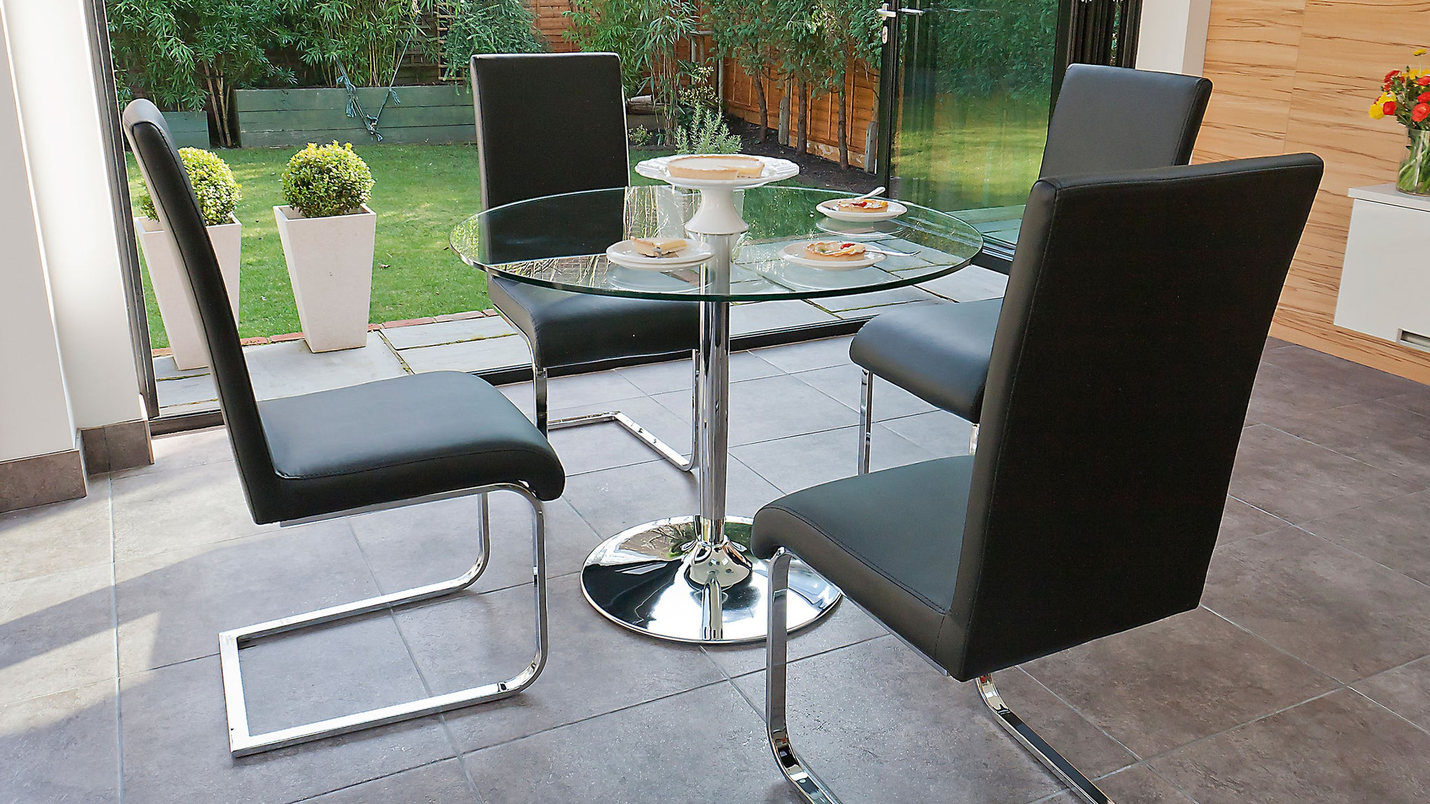Naro Clear Glass And Imola 4 Seater Dining Set