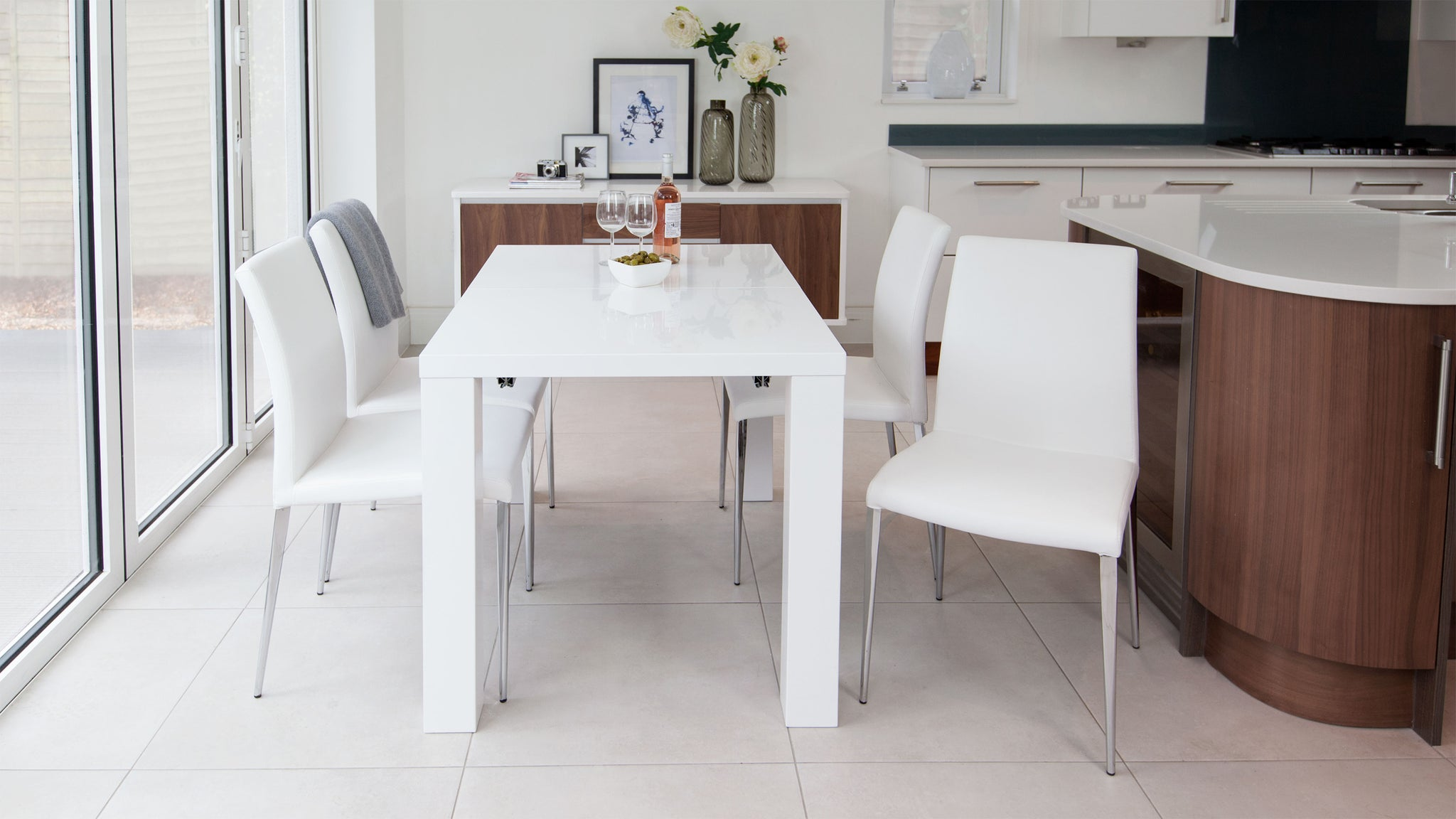 Fern White Gloss And Elise Extending Dining Set