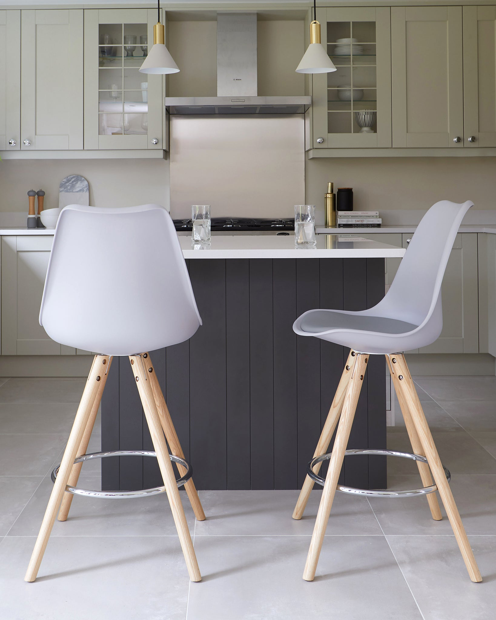 Ida Light Grey Bar Stool - Set Of 2