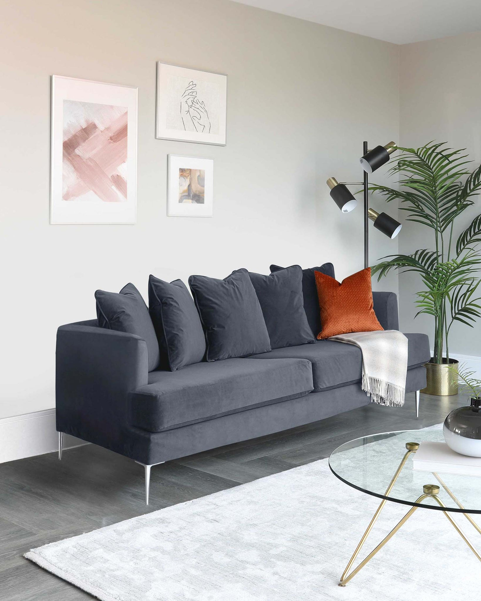 Jasmine 2 Seater Grey Velvet Sofa