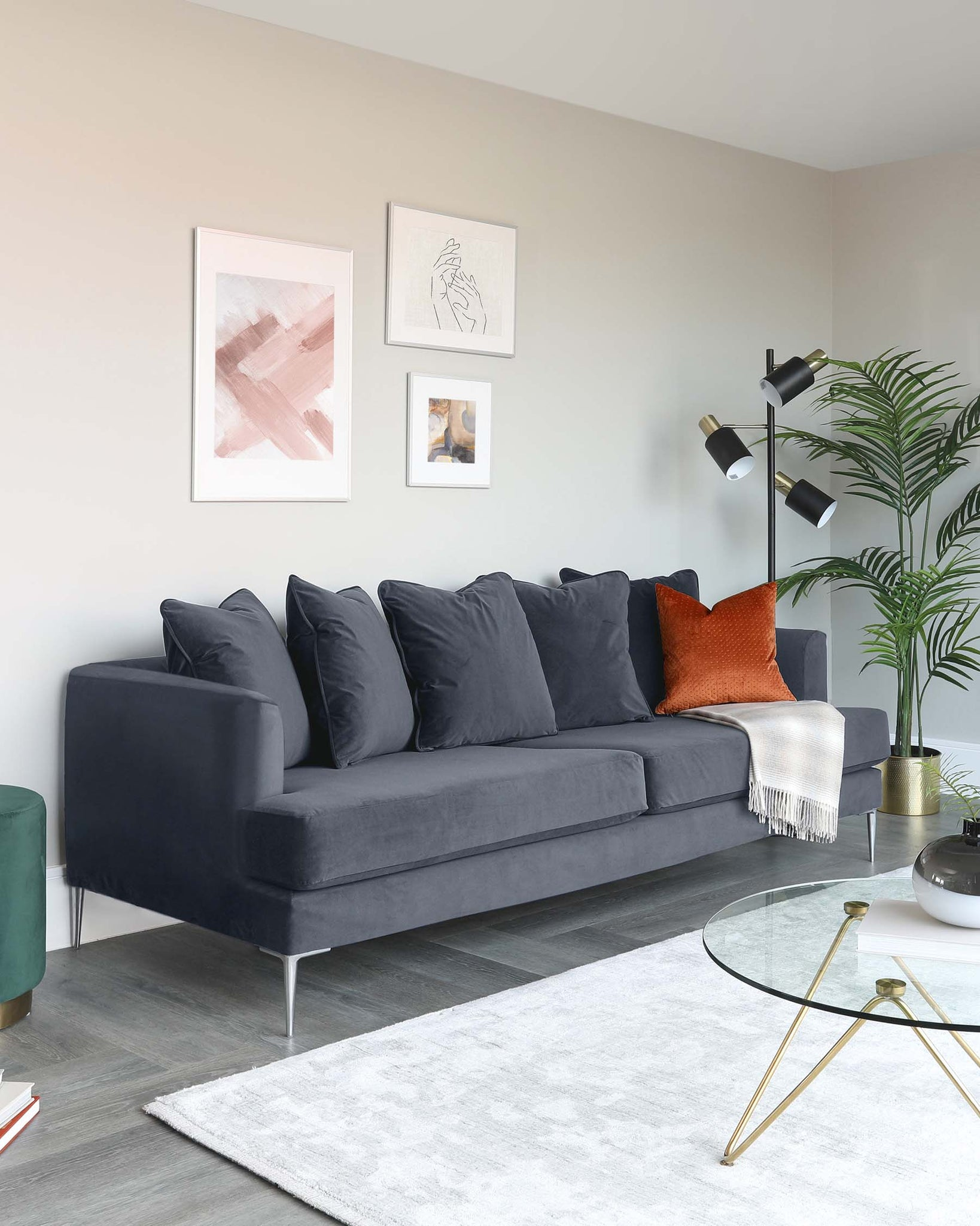 Jasmine 3 Seater Grey Velvet Sofa
