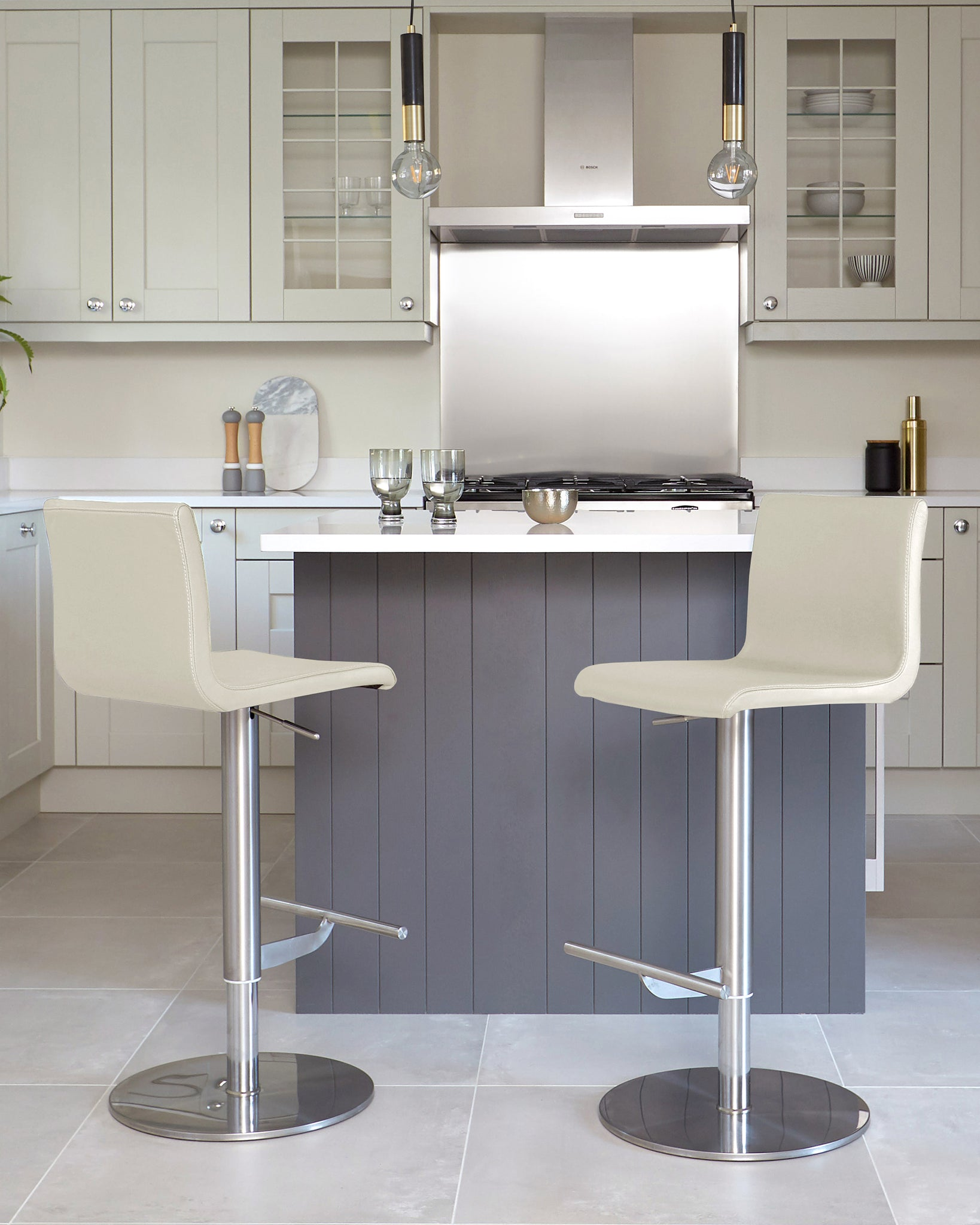 Kiki Light Grey Real Leather Gas Lift Bar Stool