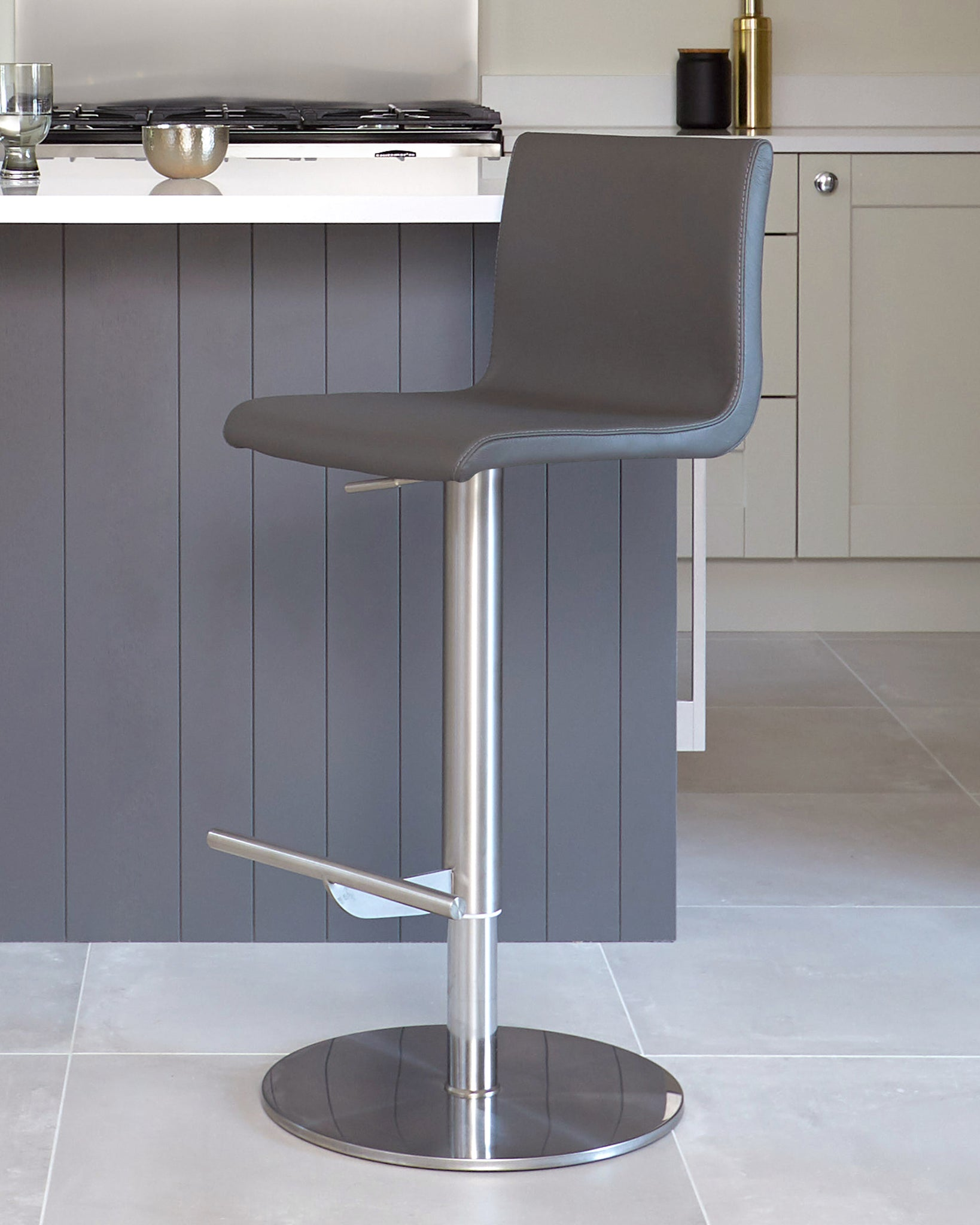 Kiki Dark Grey Real Leather Gas Lift Bar Stool