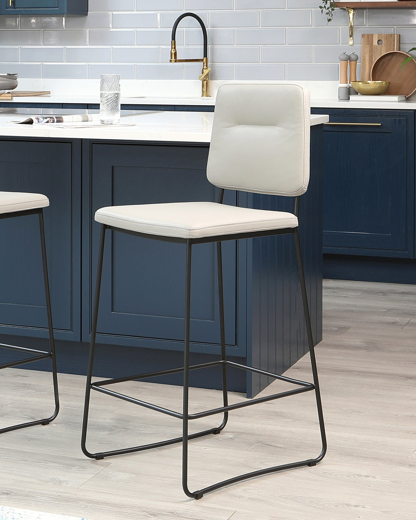 Lambert Light Grey Leather Bar Stool