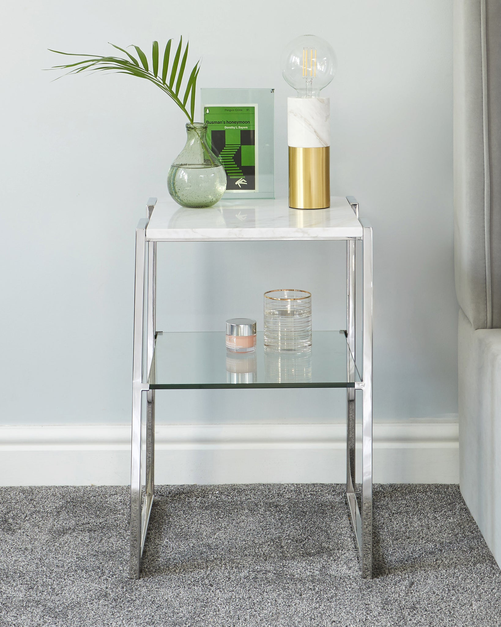 Layla White Marble And Chrome Side Table