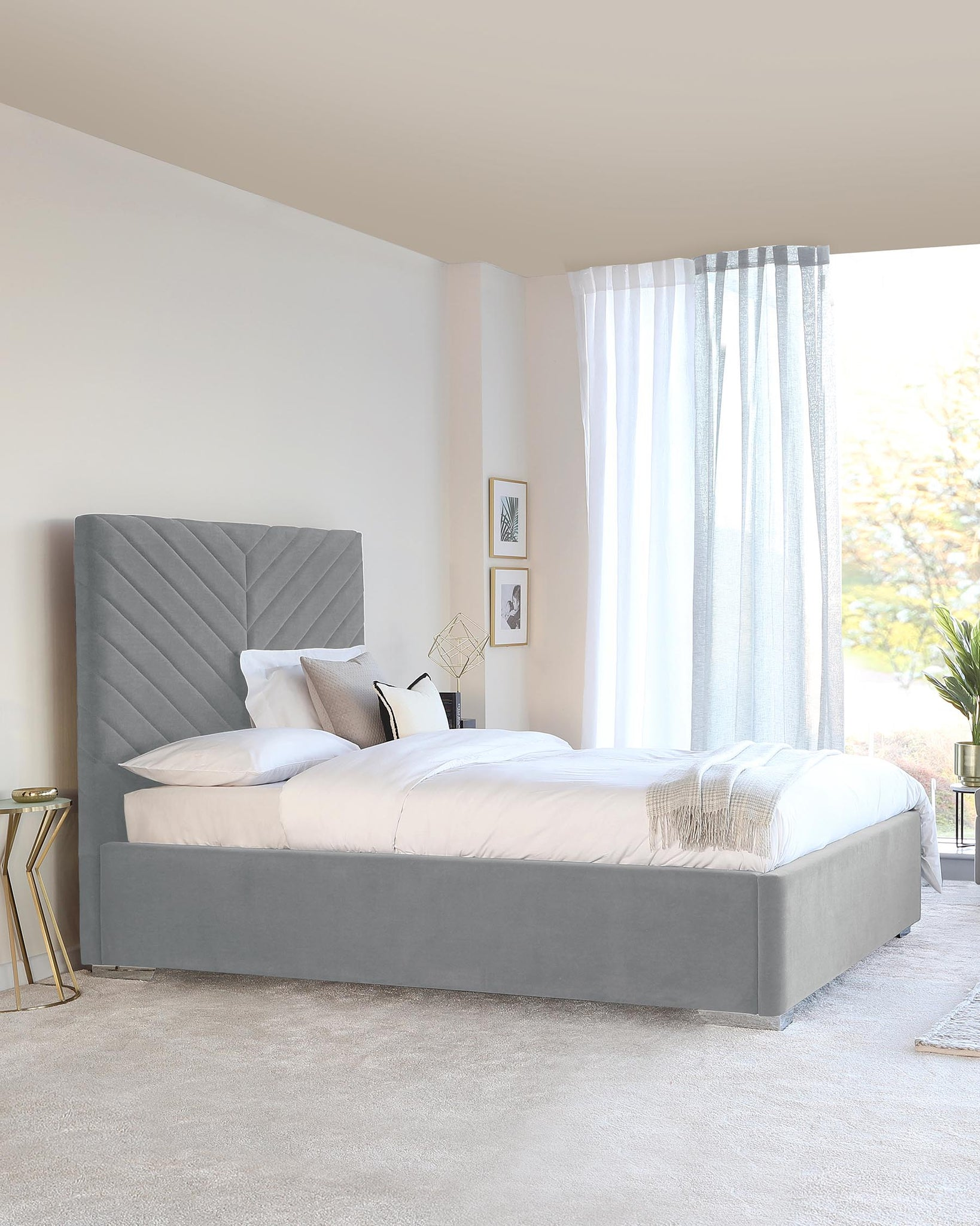 Leo Light Grey King Size Velvet And Chrome Bed With Storage