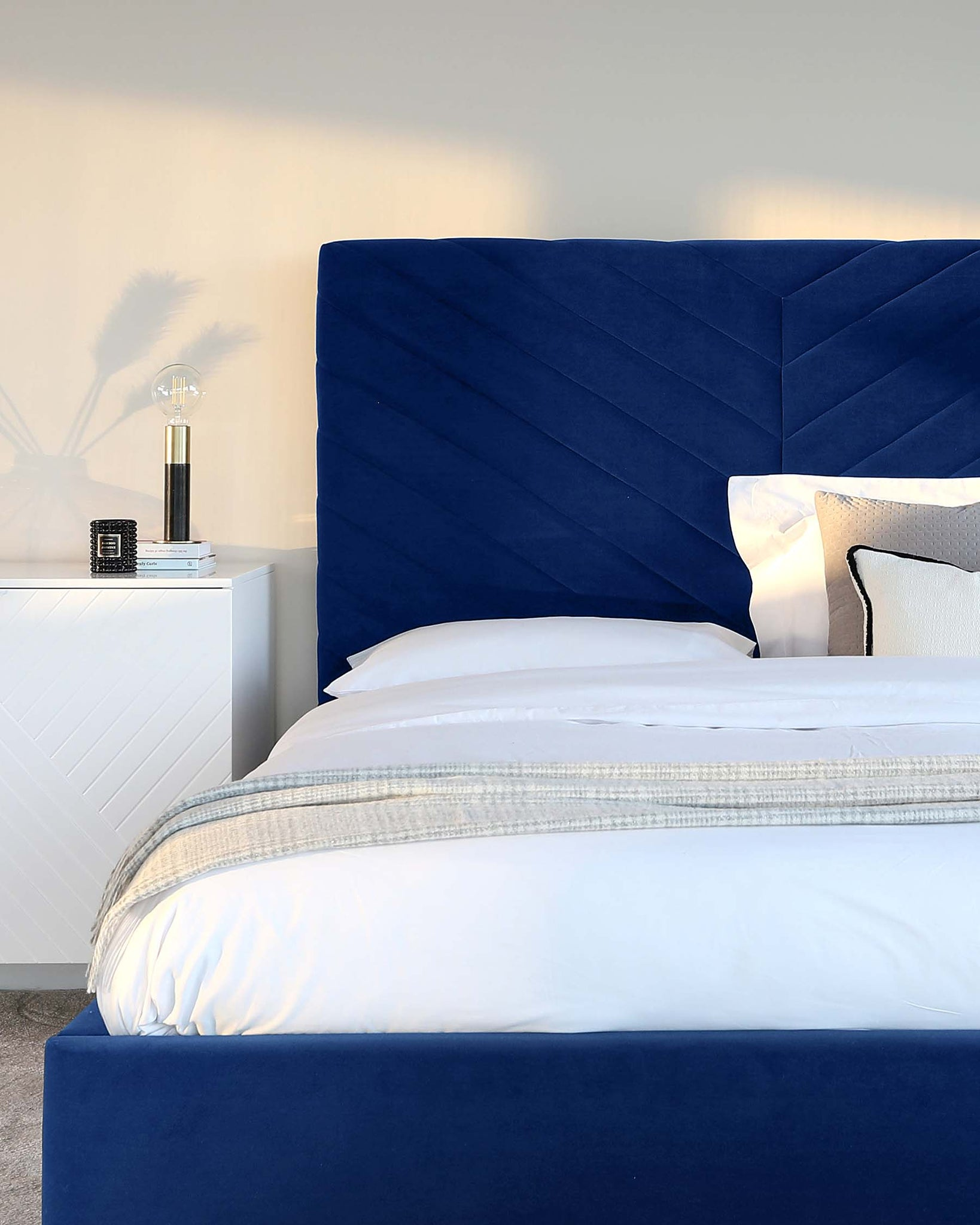 Leo Navy Blue Velvet Double Bed With Storage
