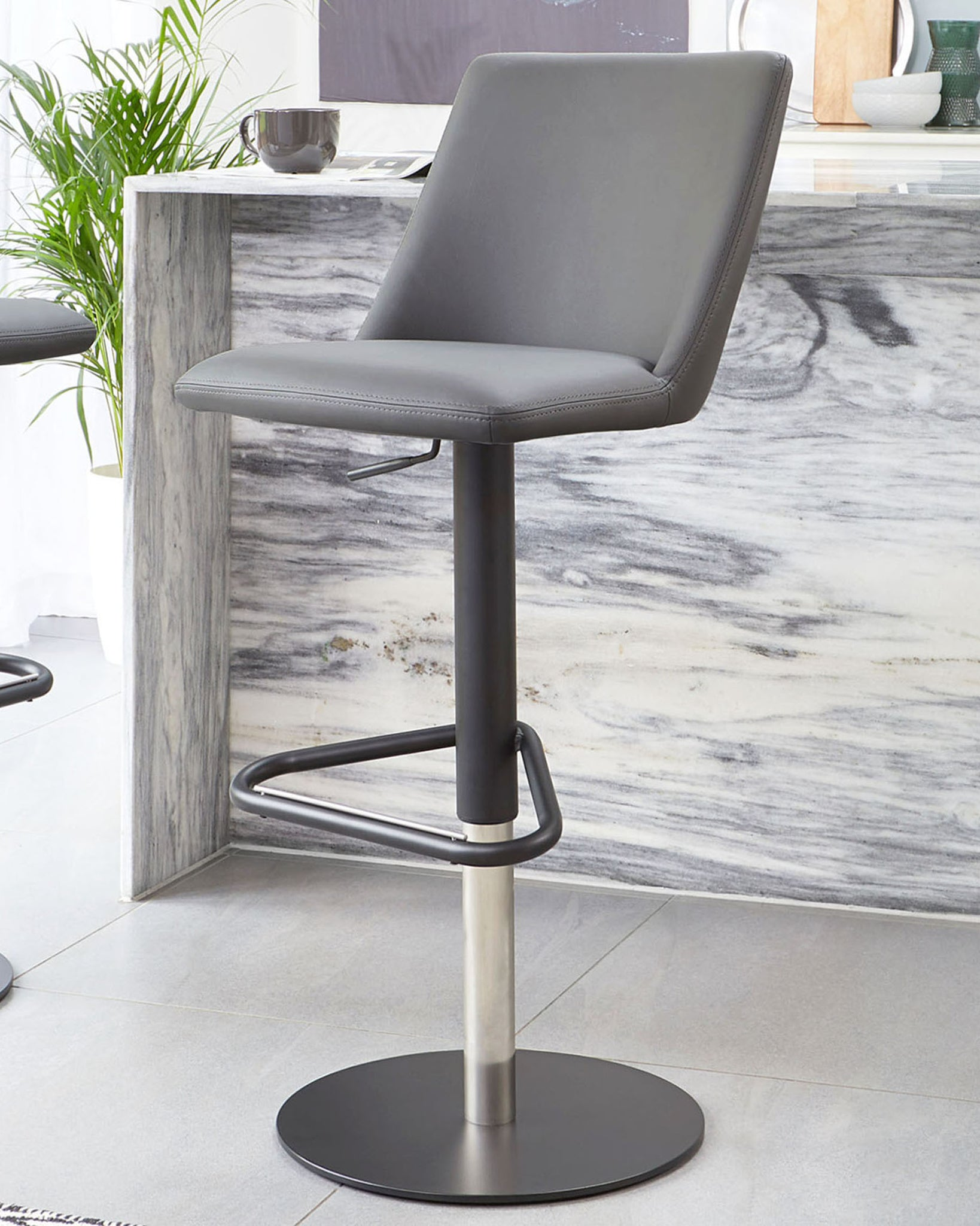 Dante Dark Grey And Matt Black Faux Leather Gas Lift Bar Stool