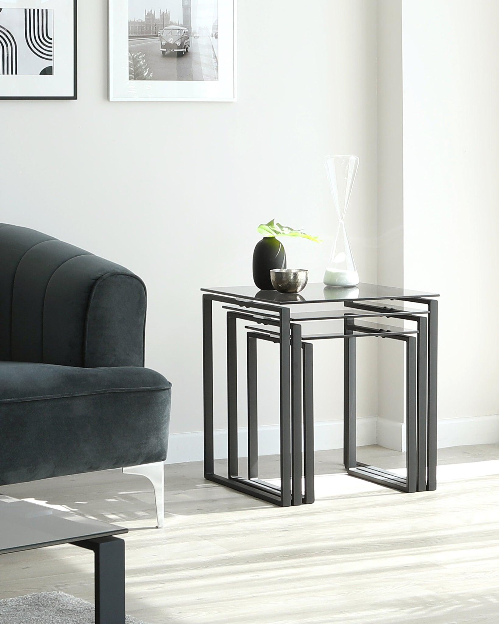 Tiva Smoked Glass And Matt Black Nest Of Tables