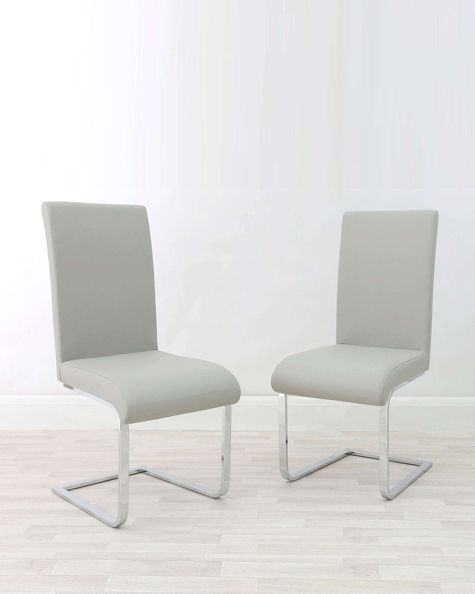 Imola Cantilever Light Grey Faux Leather Chair - Set Of 2