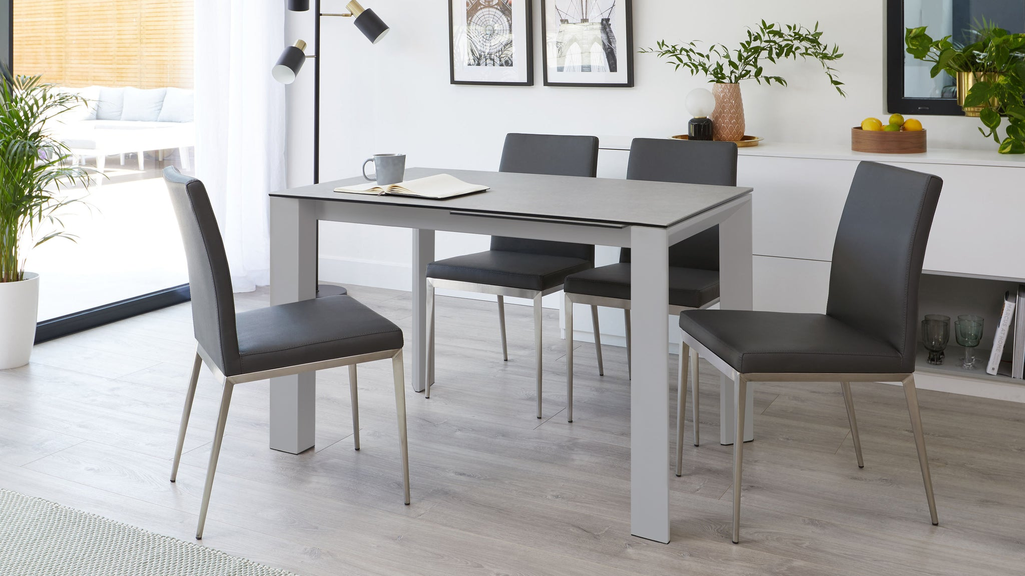 Louis Light Grey Ceramic Extending Dining Table